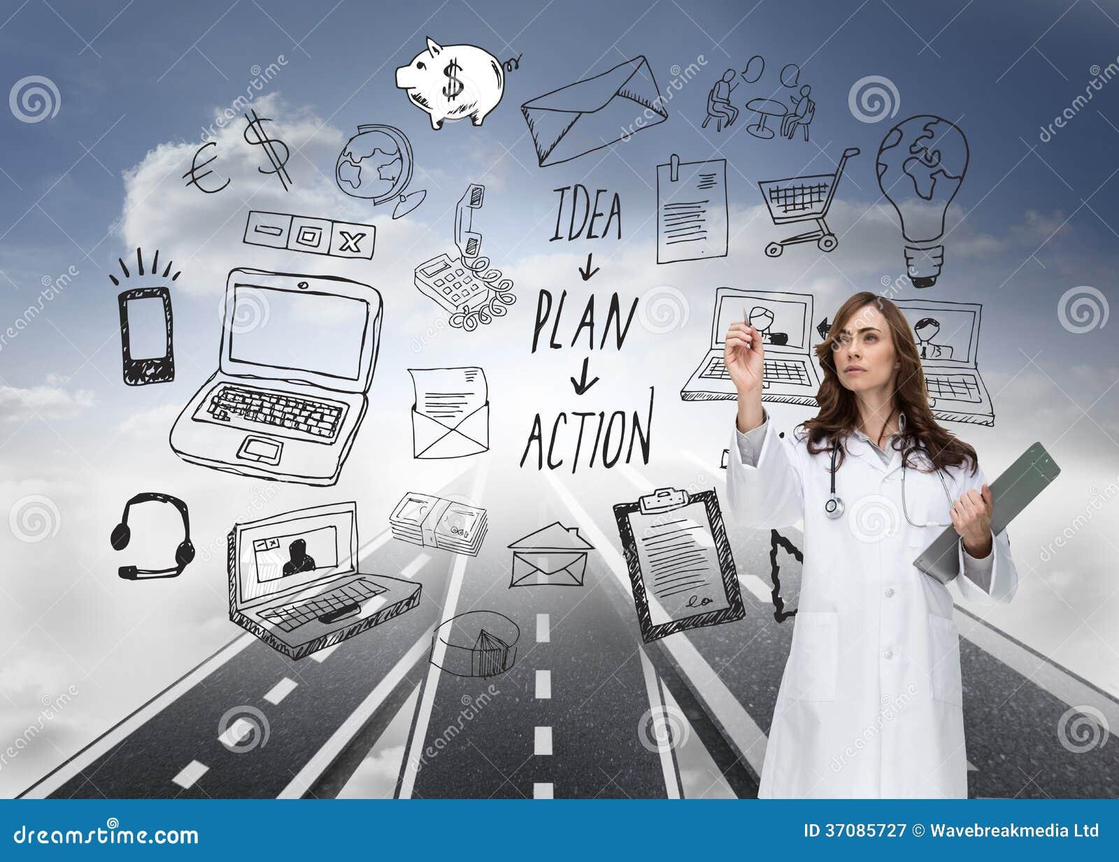 Download Stern lekarki wskazywać ilustracji. Ilustracja złożonej z autostrada - 37085727