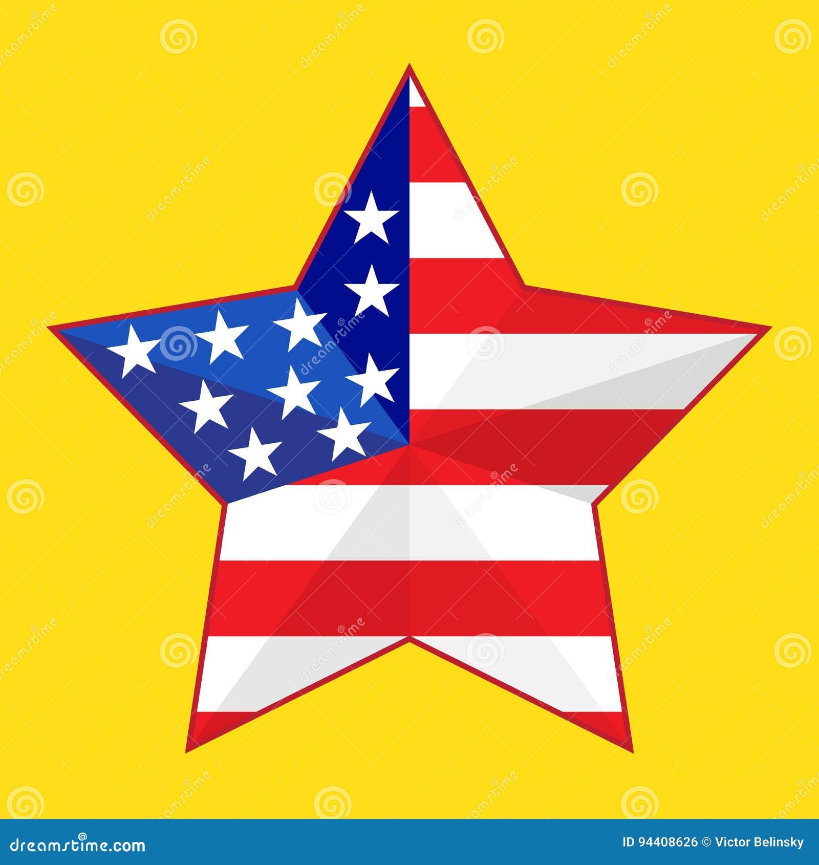 Flagge Blau Rot: Stern Mit Der Flagge Von Amerika Rot Und Blau Auf Einem