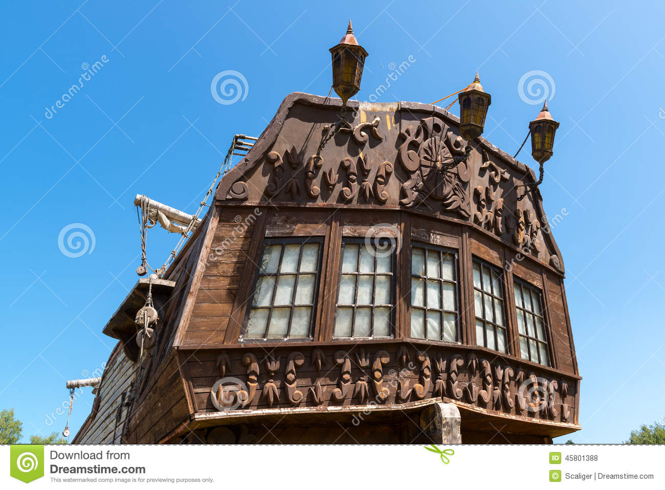 Stern Of The Old Sailing Ship Stock Photo - Image of deck ...