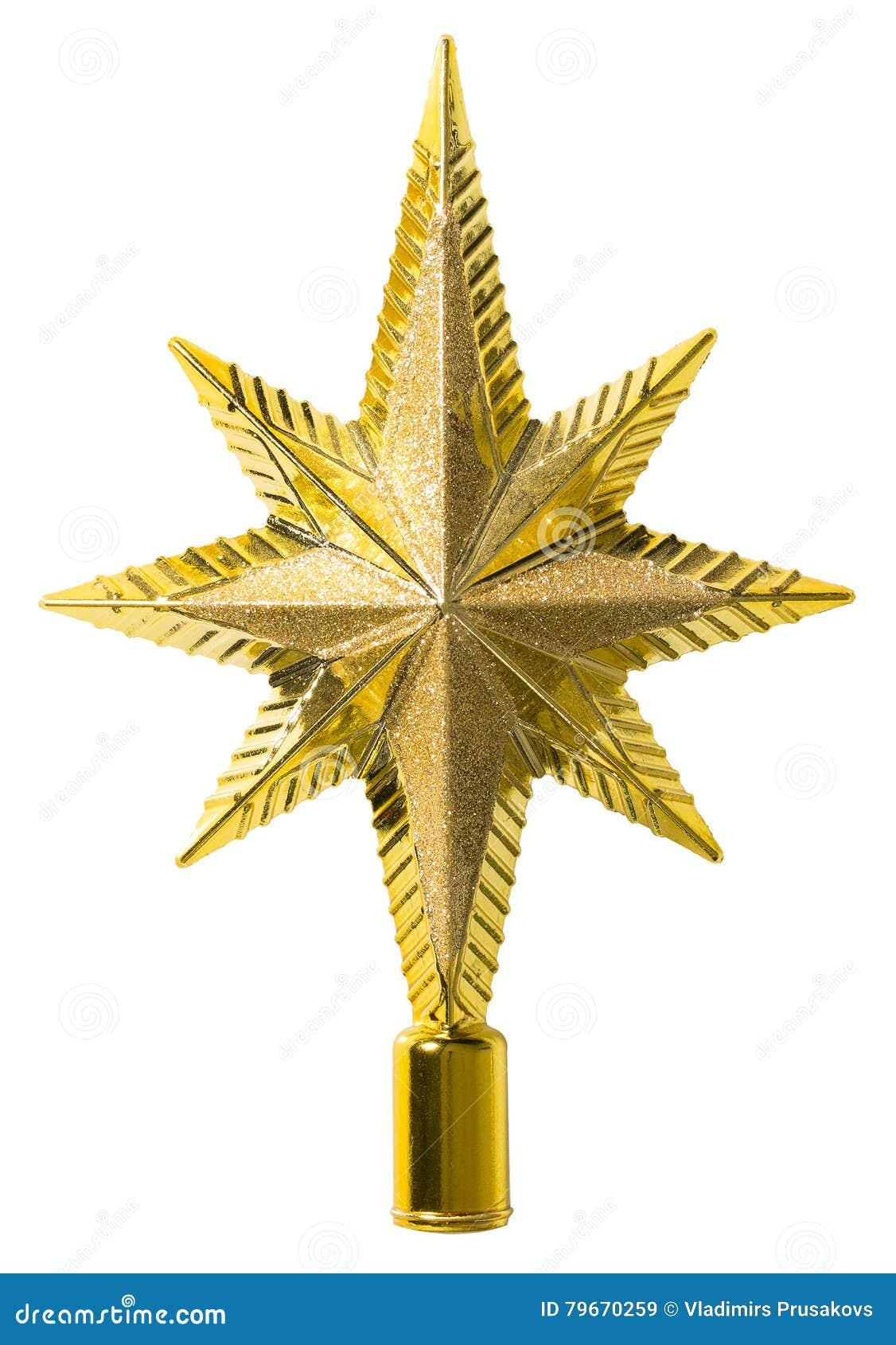 Stern Auf Weihnachtsbaum.Stern Spitzendekoration Weihnachtsbaum Deckel Weiß Lokalisiert