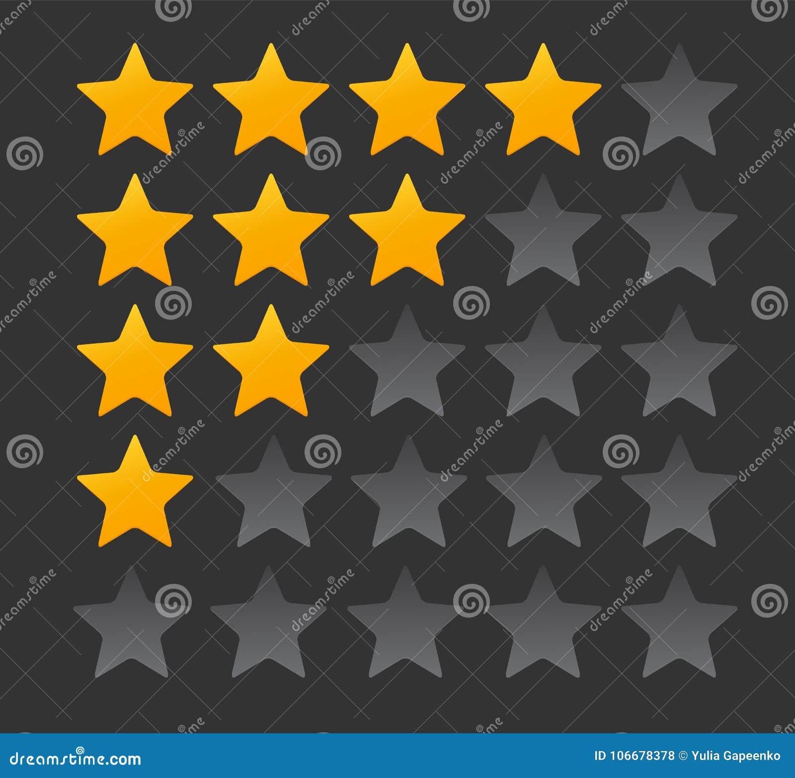 Sternbewertung Bewertungs-System und positives Bericht-Zeichen Auch im corel abgehobenen Betrag