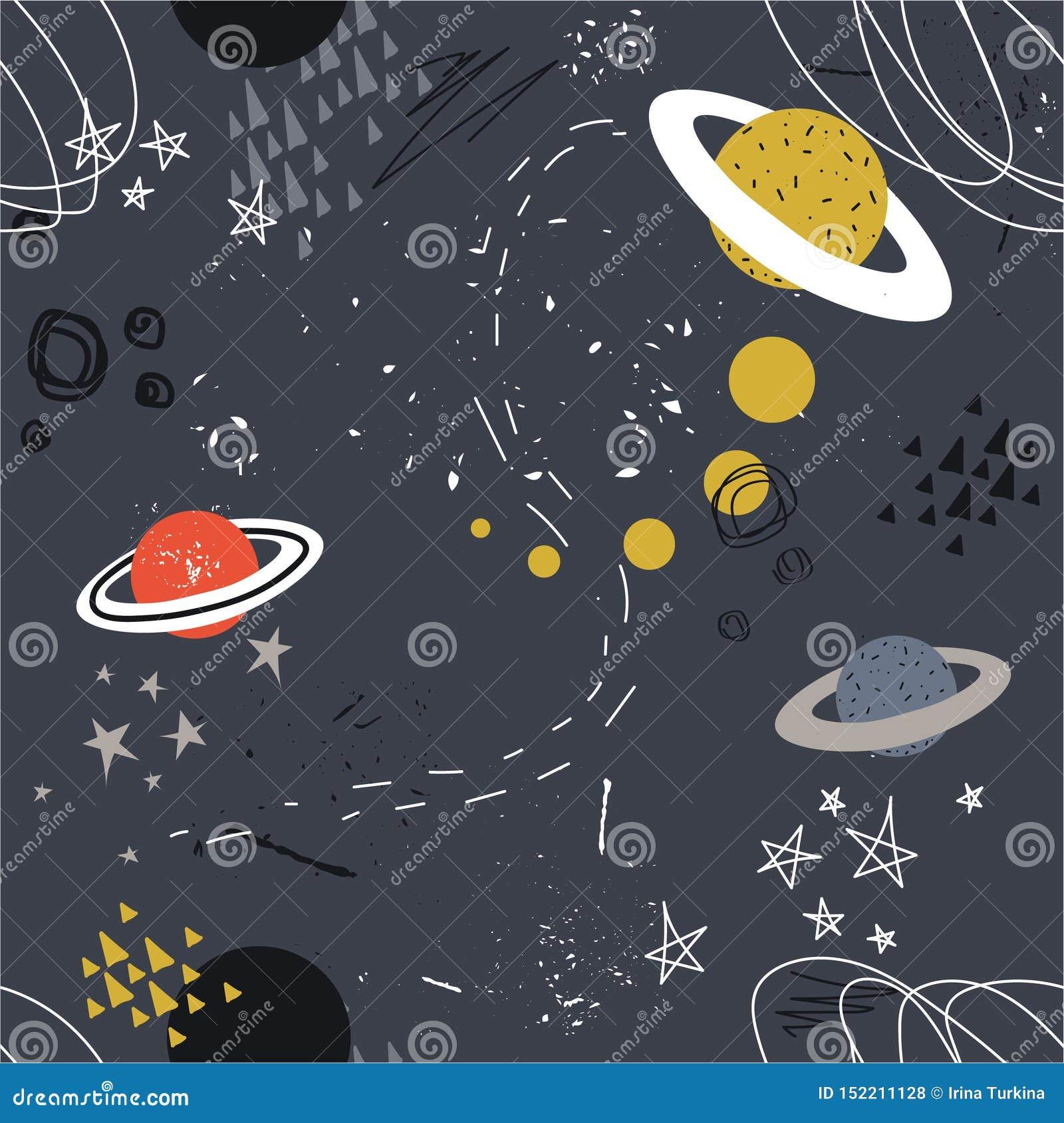Sterne, Planeten, Konstellationen, buntes nahtloses Muster Dekorativer Überschneidungshintergrund, Weltraum