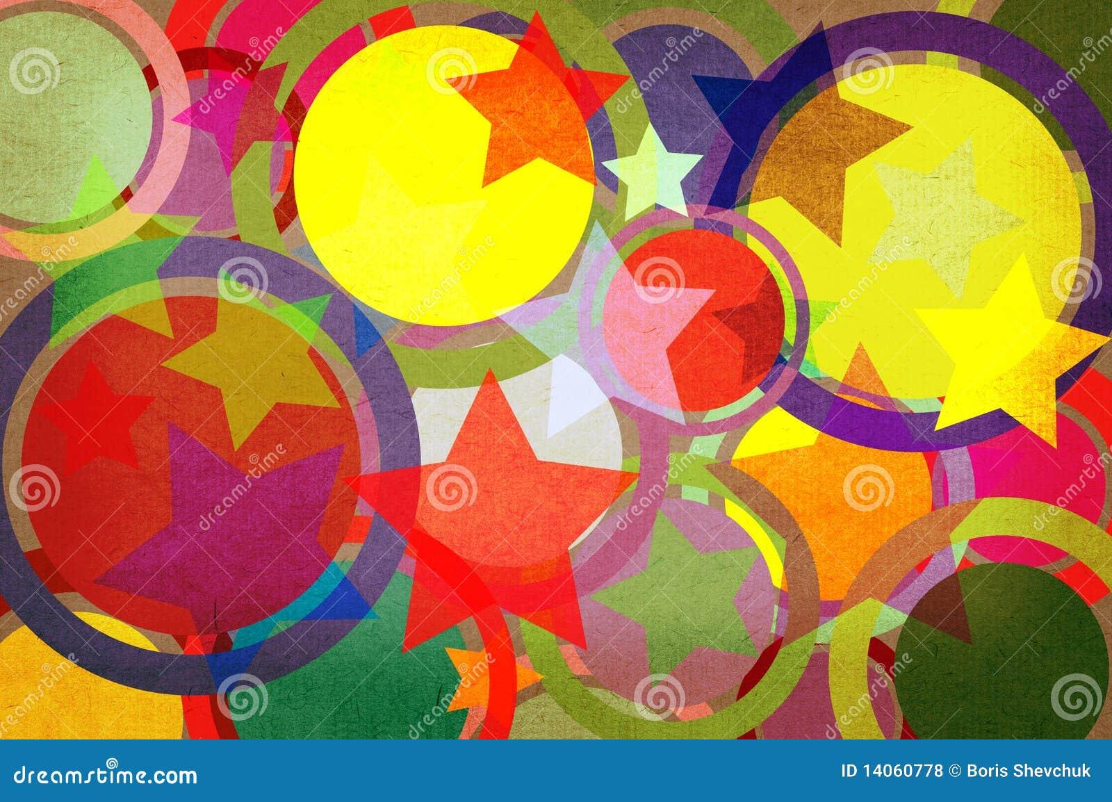 Sterne und Kreise auf einem Papier.