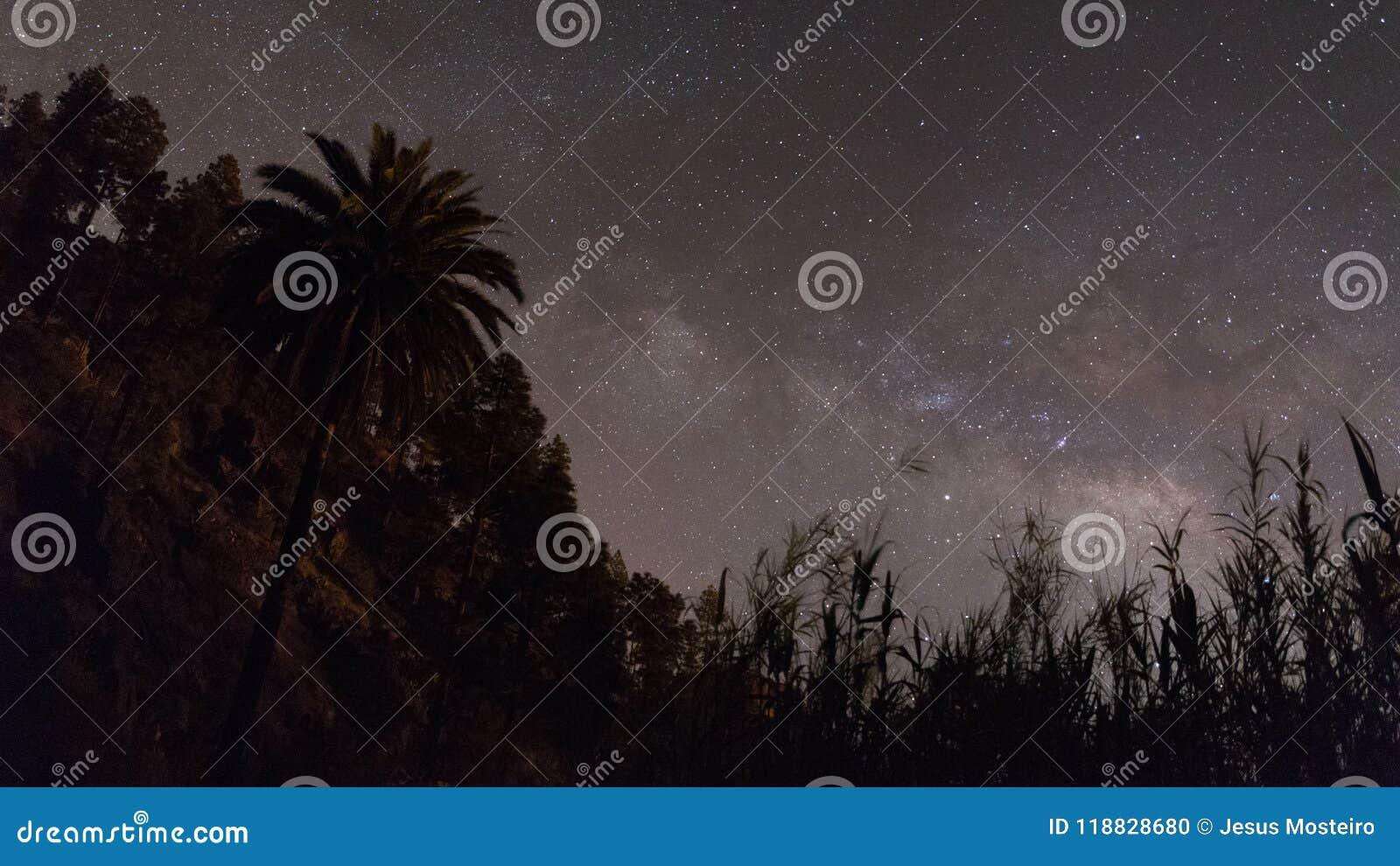 Sternenklarer zitronengelber nächtlicher Himmel