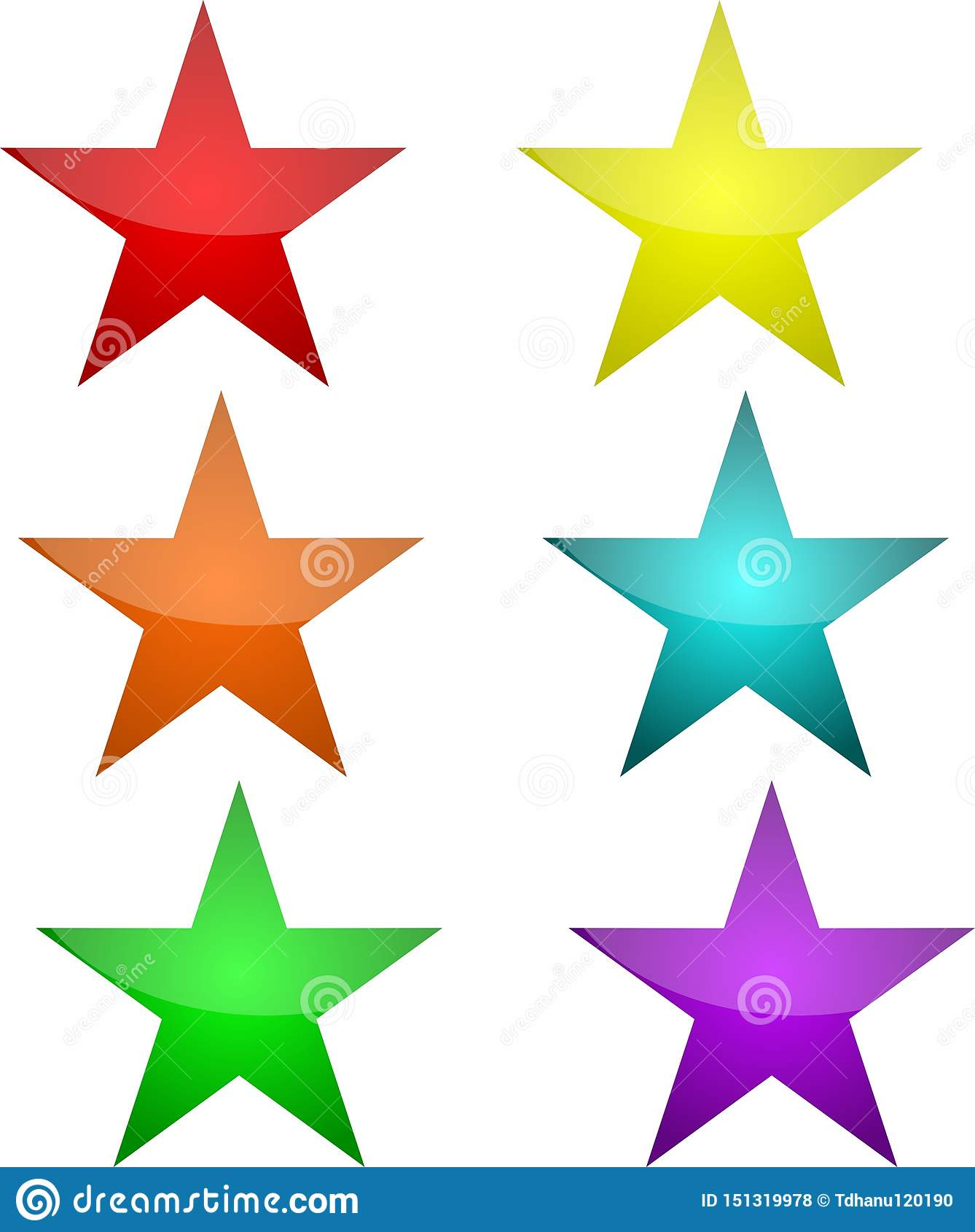 Sternknöpfe in sechs Farben