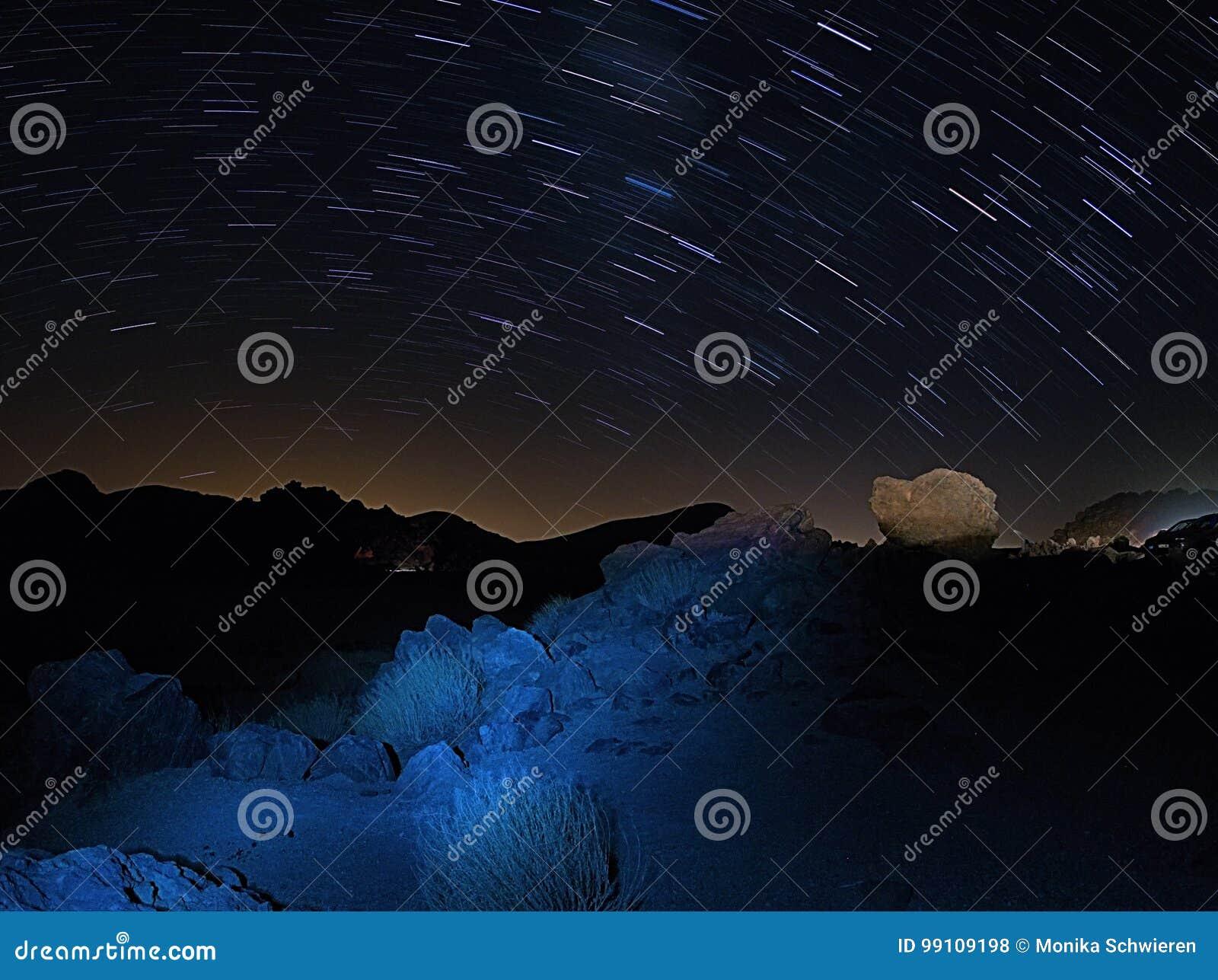 Sternspuren im Nationalpark Teide Teneriffa