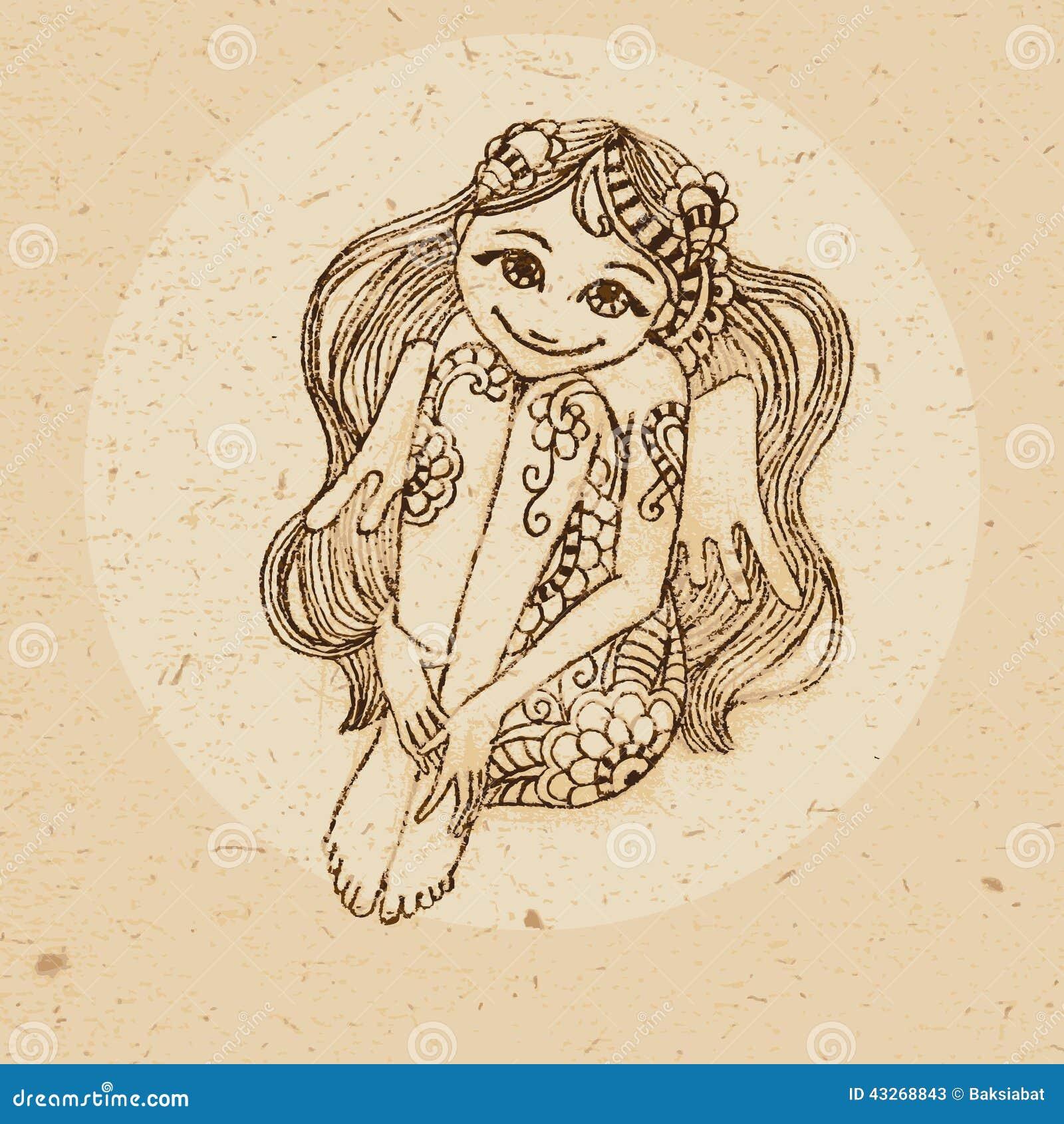 sternzeichen jungfrau vektor abbildung bild von indisch 43268843. Black Bedroom Furniture Sets. Home Design Ideas