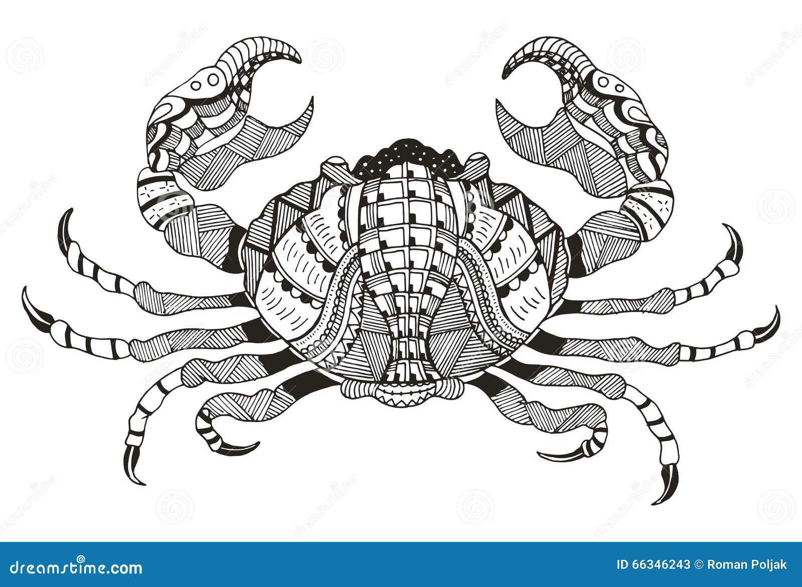 sternzeichen krebs auch im corel abgehobenen betrag krabbe zentangle griffel vektor abbildung. Black Bedroom Furniture Sets. Home Design Ideas