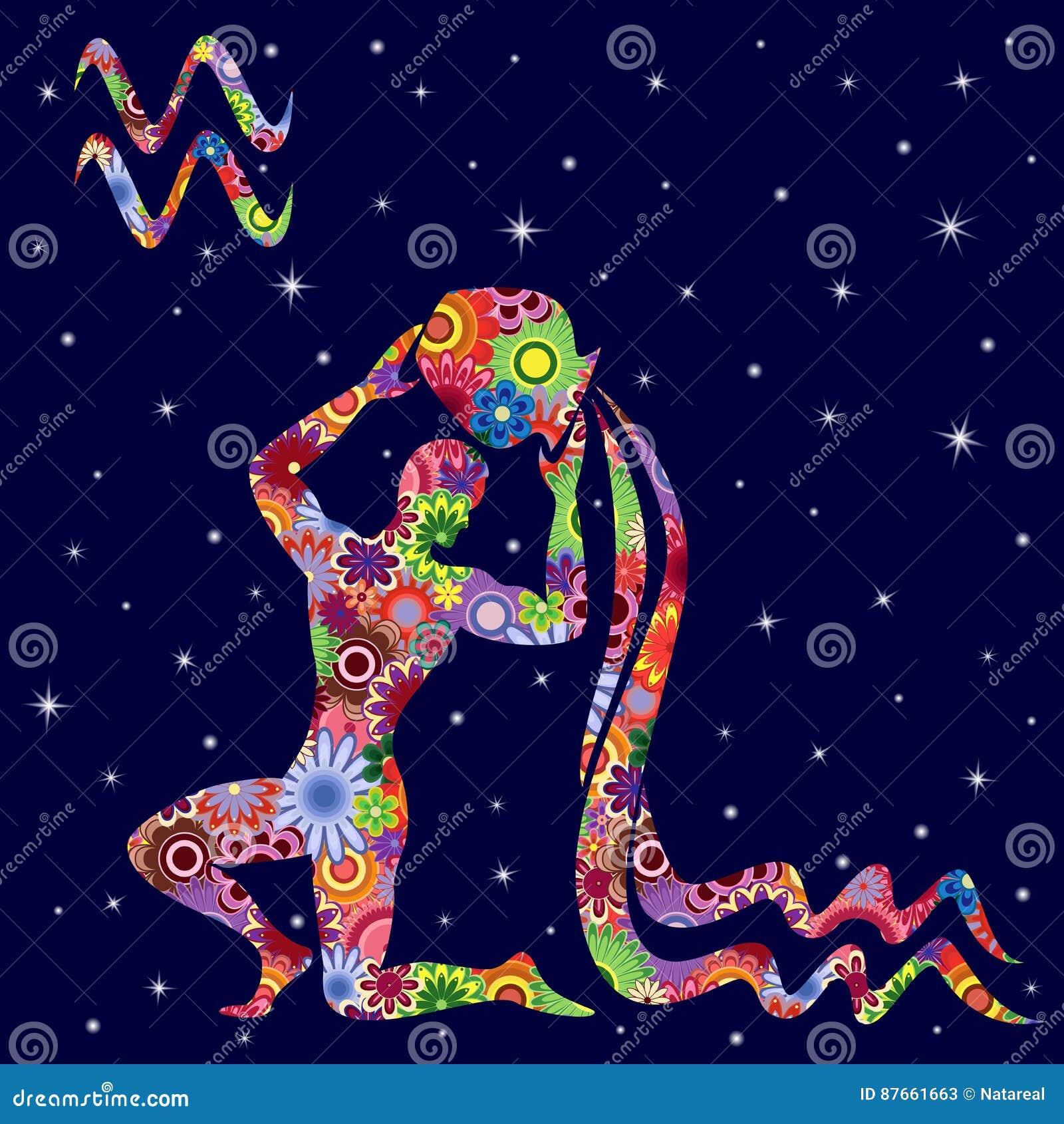 Wassermann Sternzeichen sternzeichen-wassermann mit blumen füllen über sternenklaren himmel