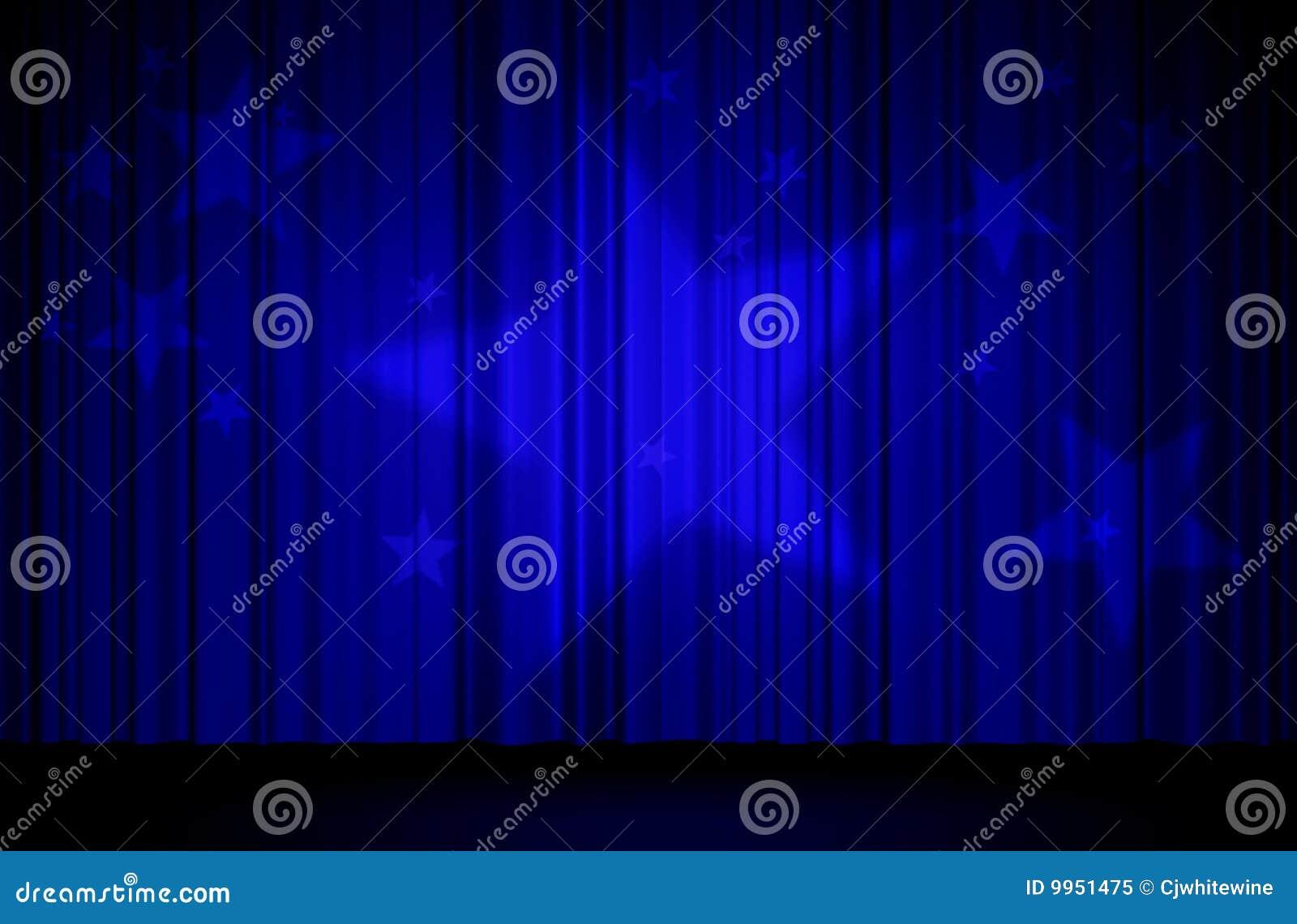 sterren en blauw gordijn