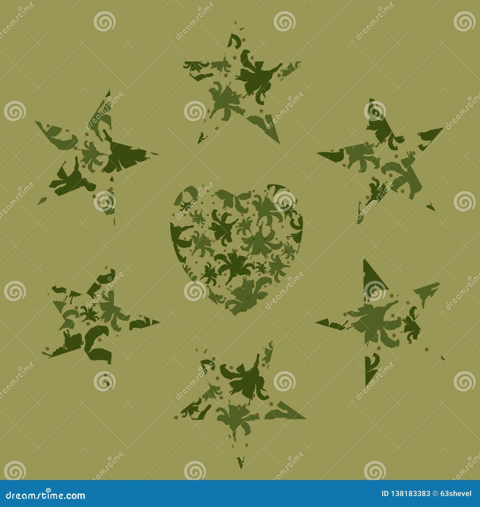 Sterren en het hart van lelies in camouflagepatroon