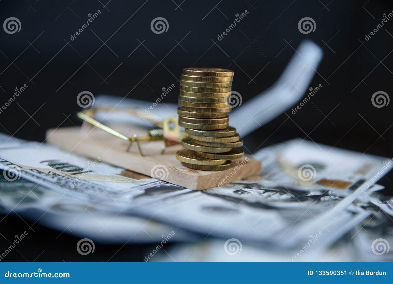 Sterta euro monety na mousetrap