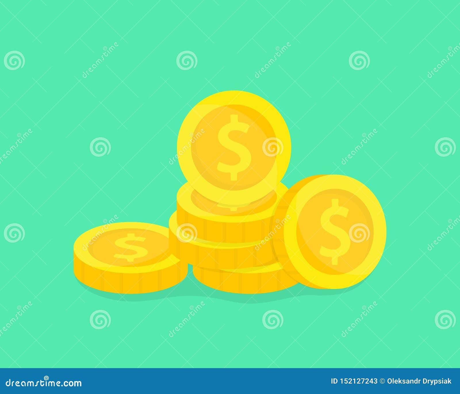 Sterta monety z?ota Pieni?dze wektoru ilustracja Pojęcie oszczędzanie, darowizna, inwestuje płacący ilustrację