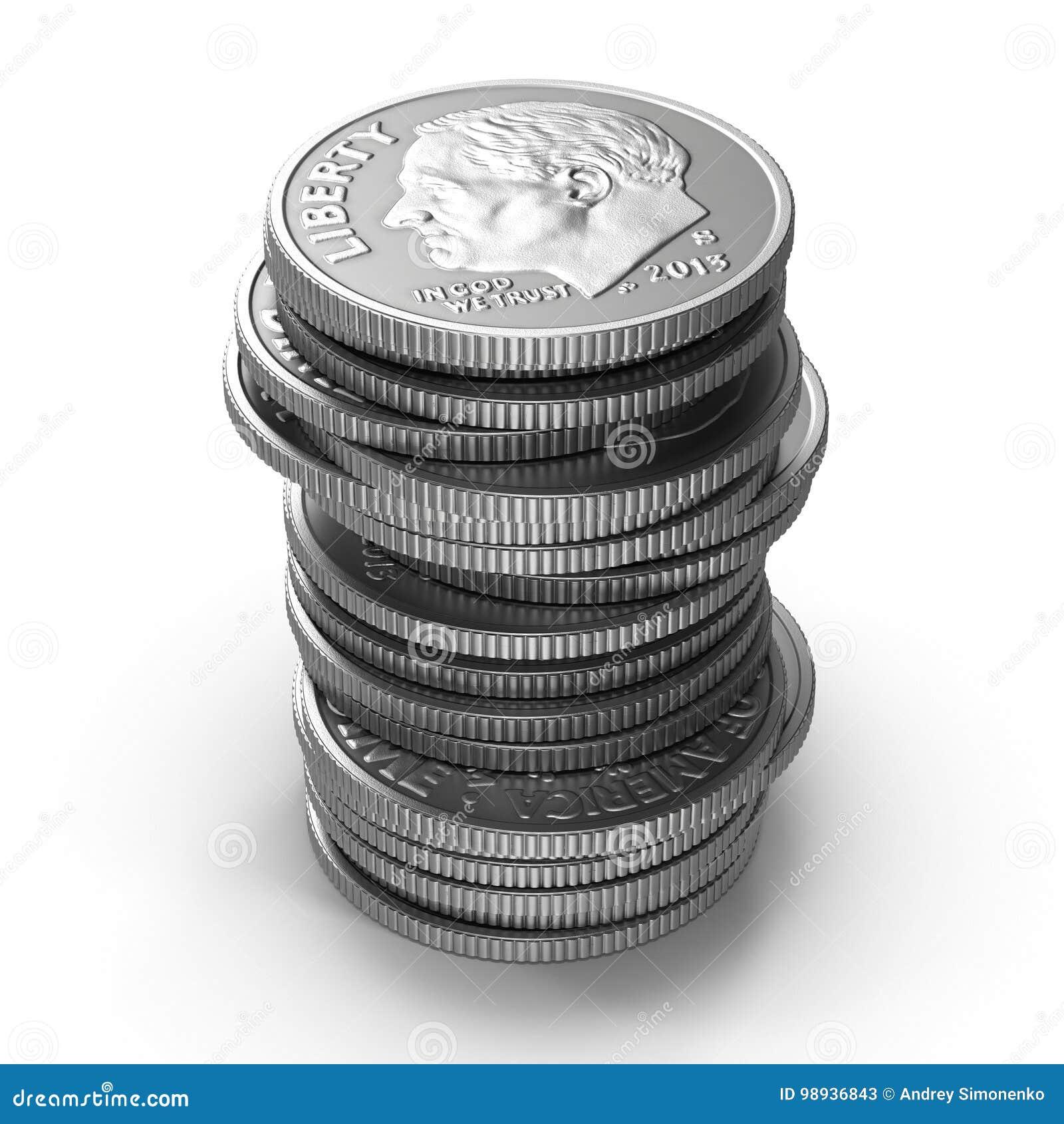 Sterty amerykańskie grosz monety odizolowywać na bielu ilustracja 3 d