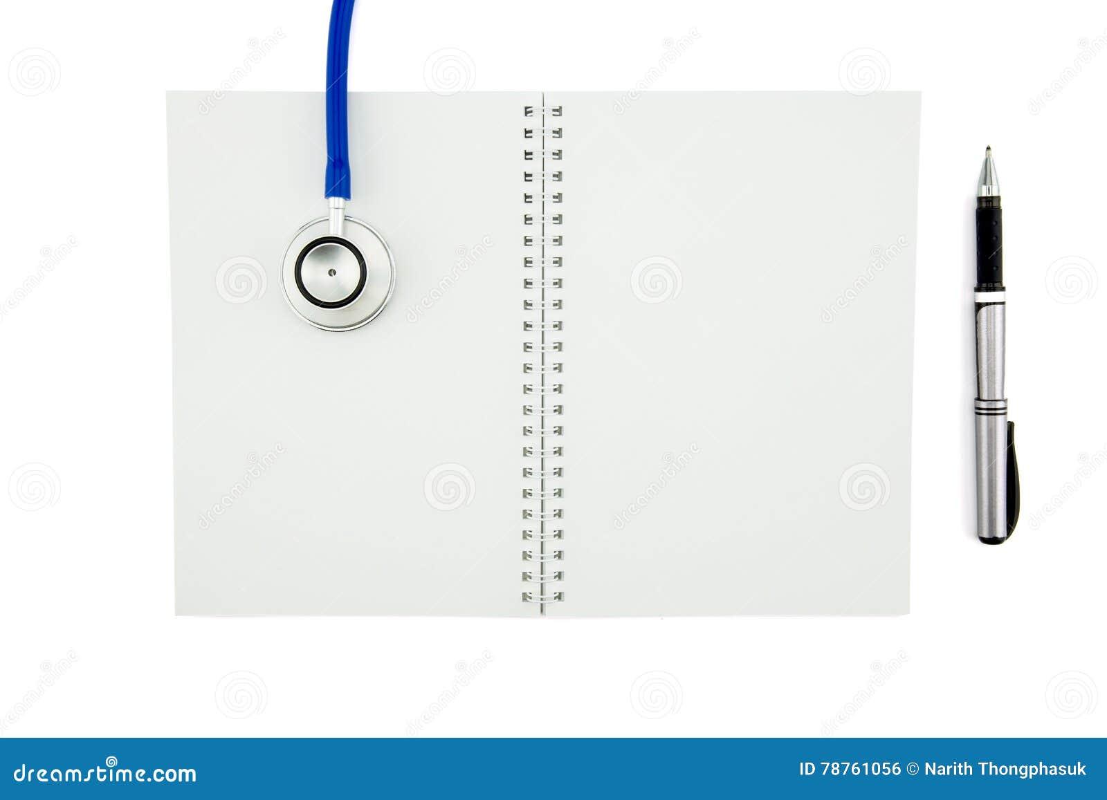 Stethoscoop en notitieboekje met pen Hoogste mening met c