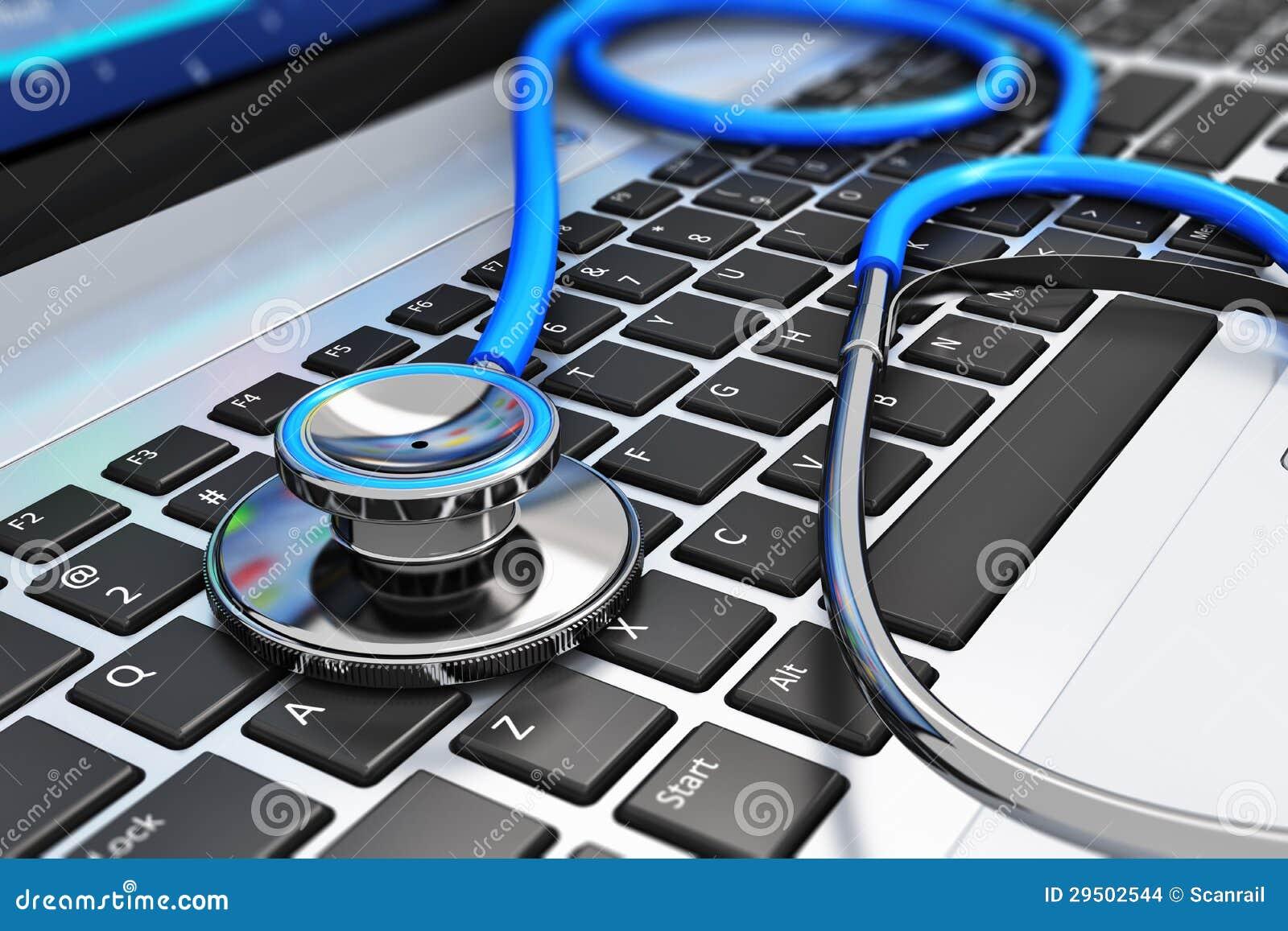 Stethoscoop op laptop toetsenbord
