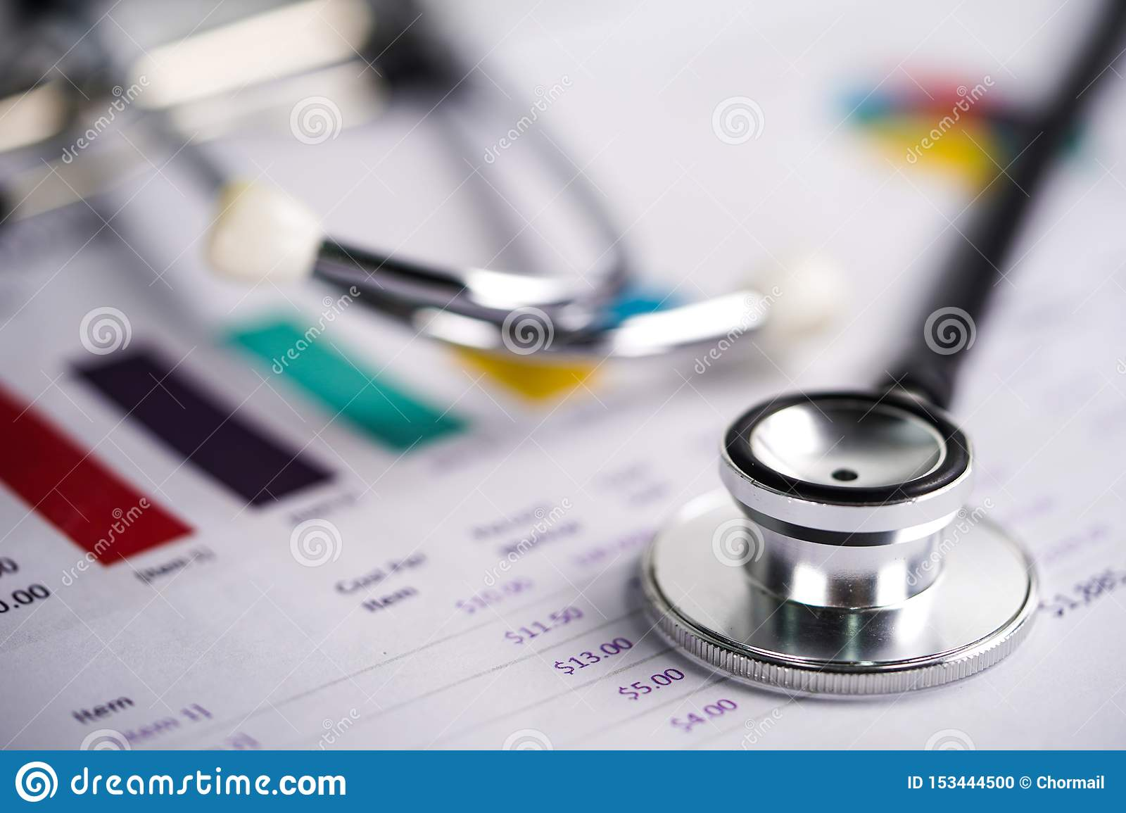 Stethoscope, Charts and Graphs spreadsheet paper, Finance, Account, Statistics
