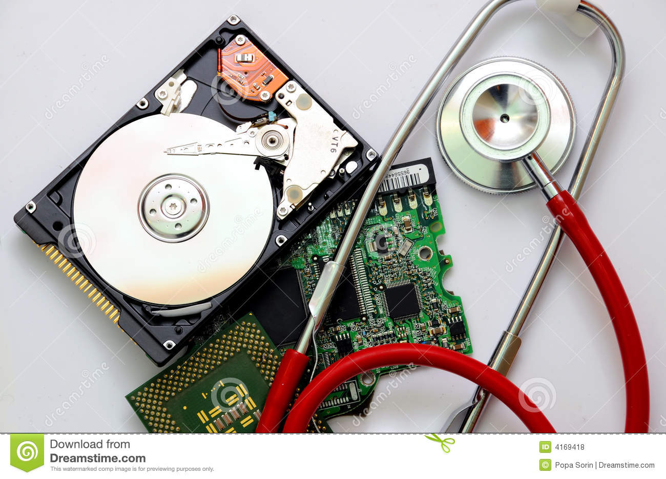 Stethoscope and computer parts