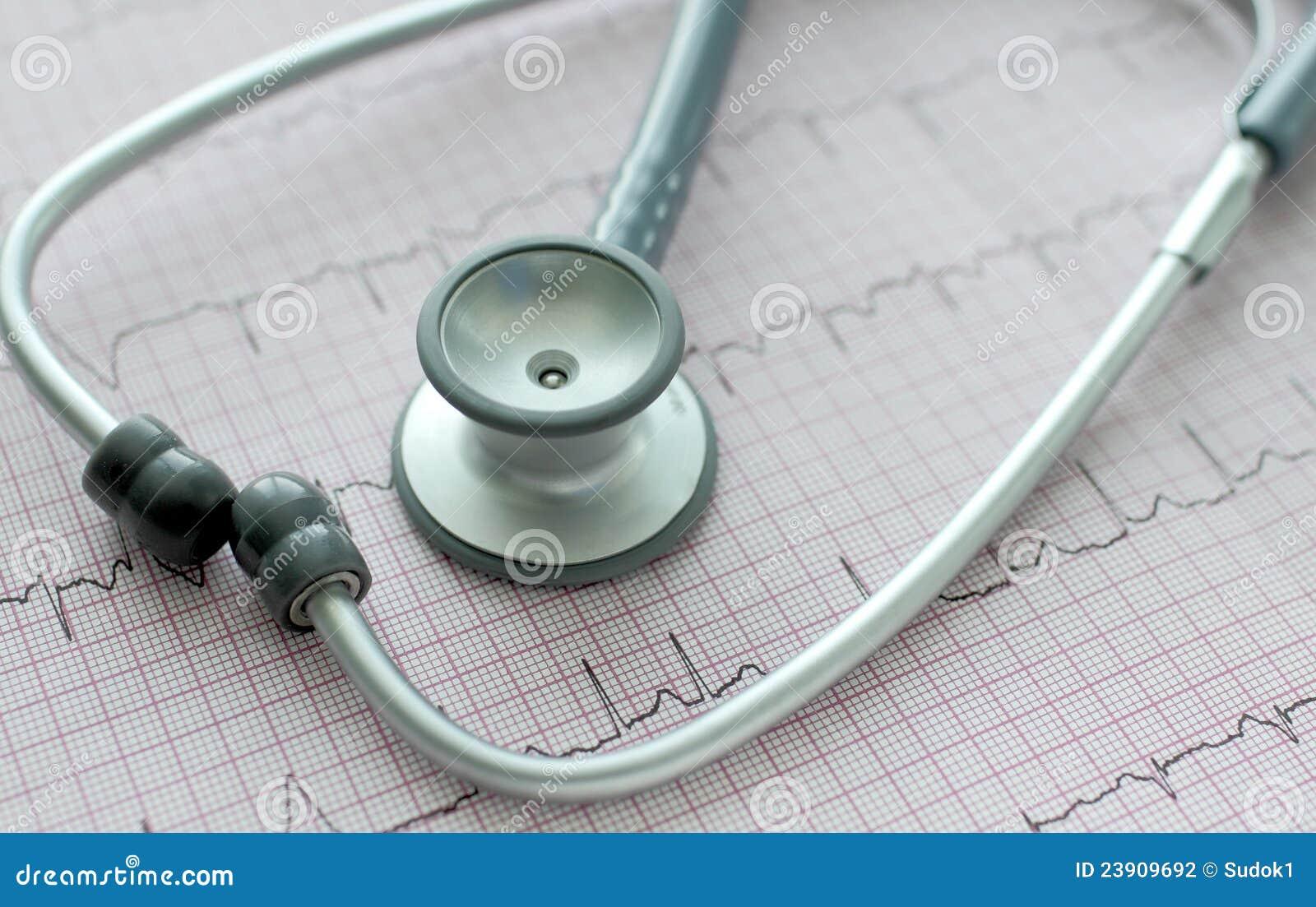 Stethoscope on the ECG.