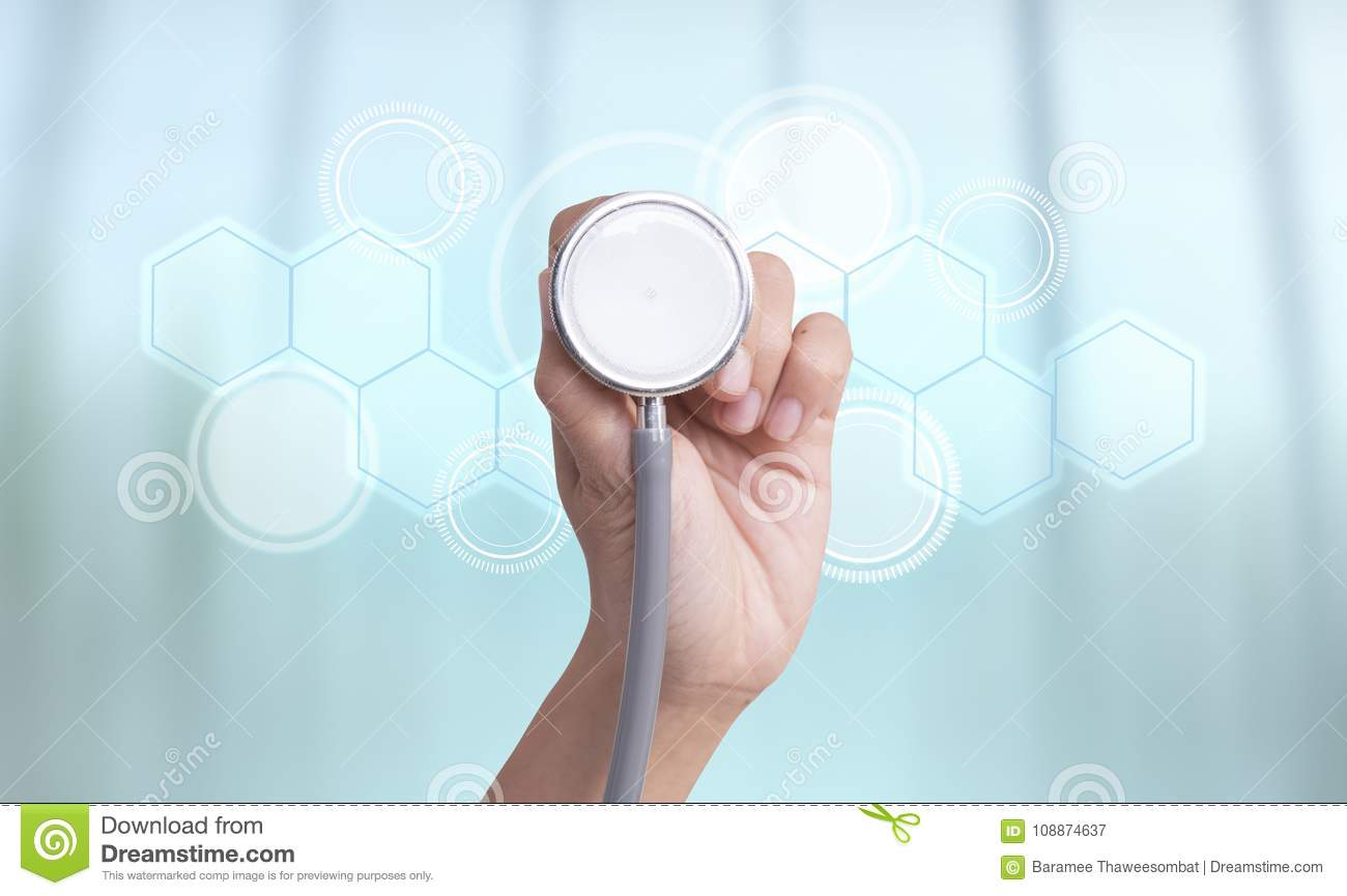 Stethoscope in hand check health and medical technology icon.