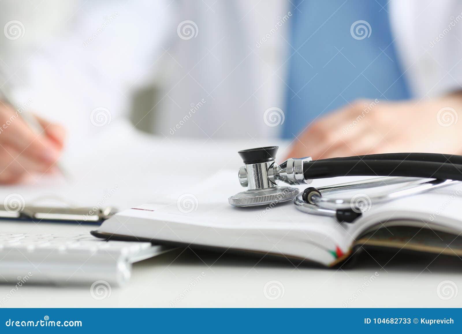 Stethoscope Head Lying On Medical Forms Stock Image - Image