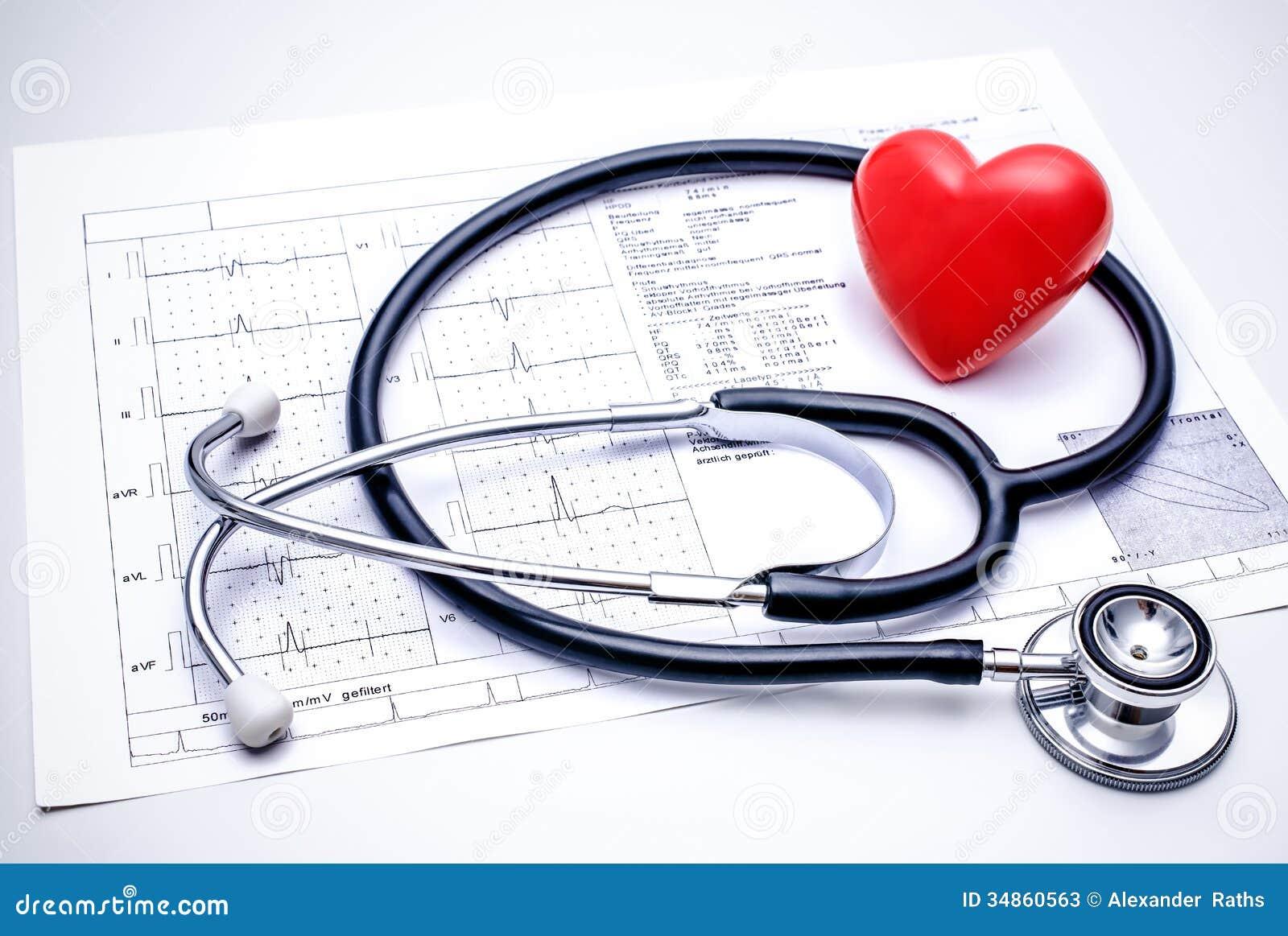 Stethoscope Lying On ECG    Diagram    Stock Photos  Image