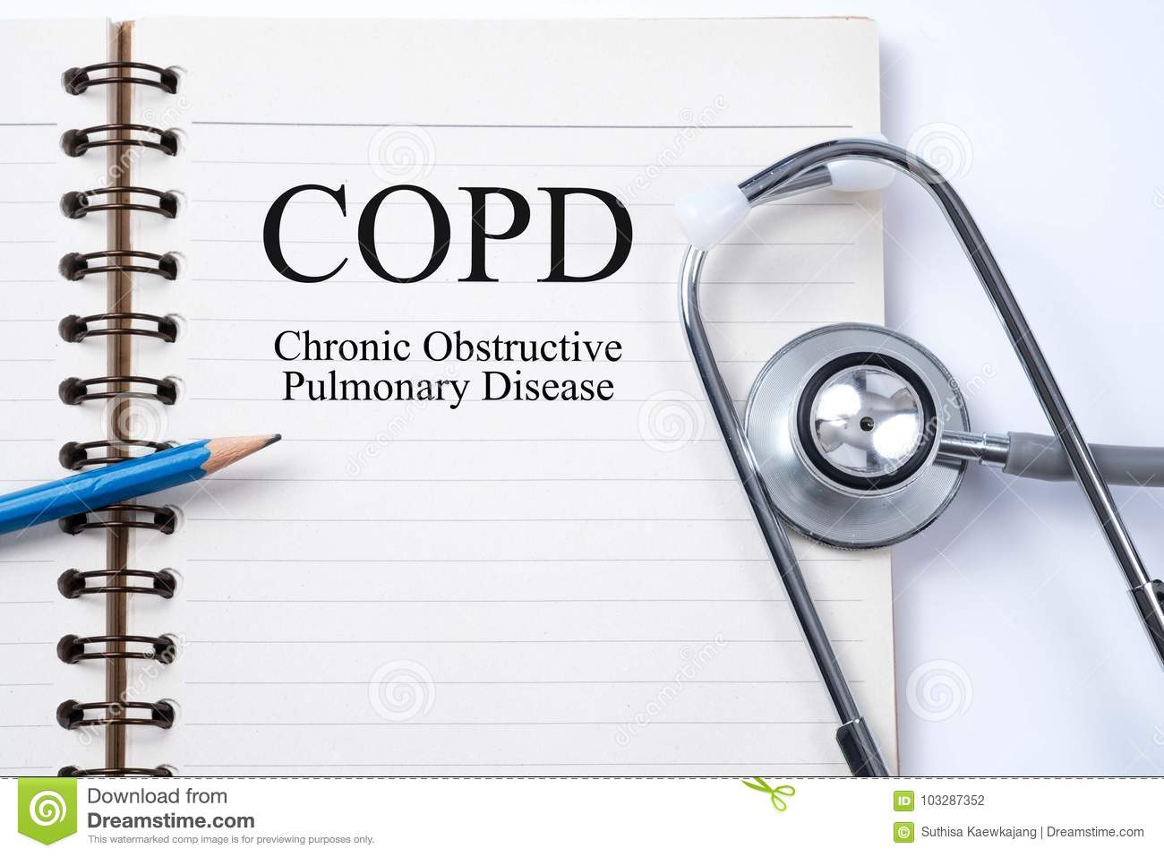 Stethoscope on notebook and pencil with COPD Chronic obstructiv