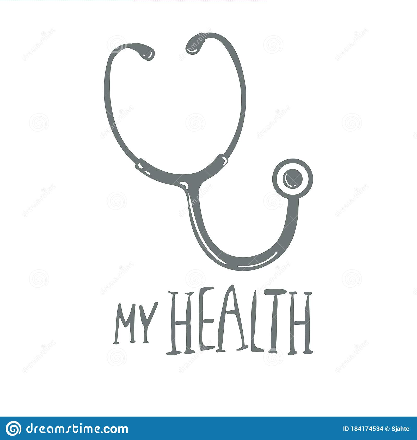 Stethoscope Or Steth - Medical Vector Icon Hand Drawing, Isolated On White.  With Words My Health Stock Vector - Illustration of hear, device: 184174534