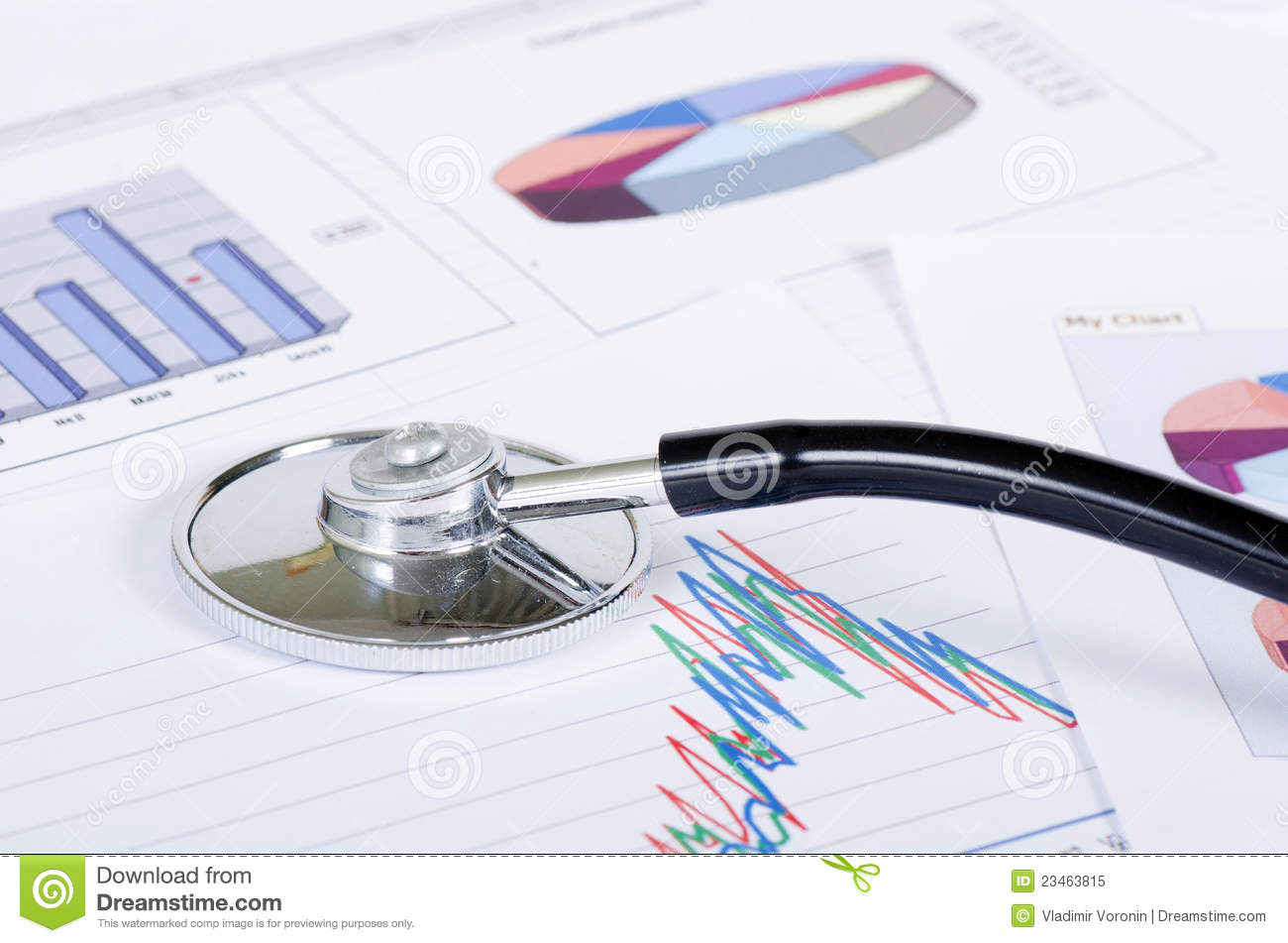 stethoscope on a stock chart