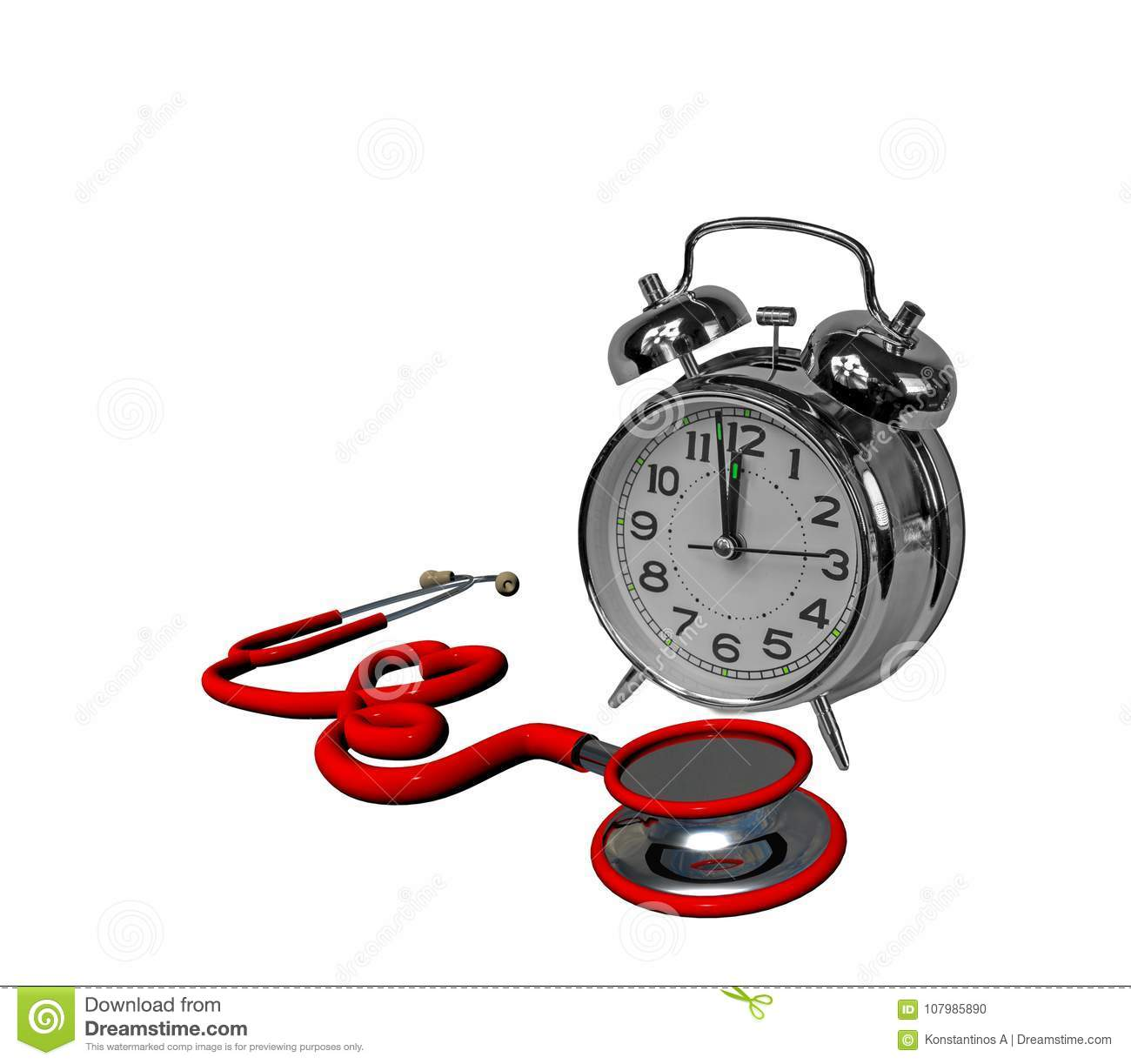 stethoscope time clock red heart isolated in white health 3d stock