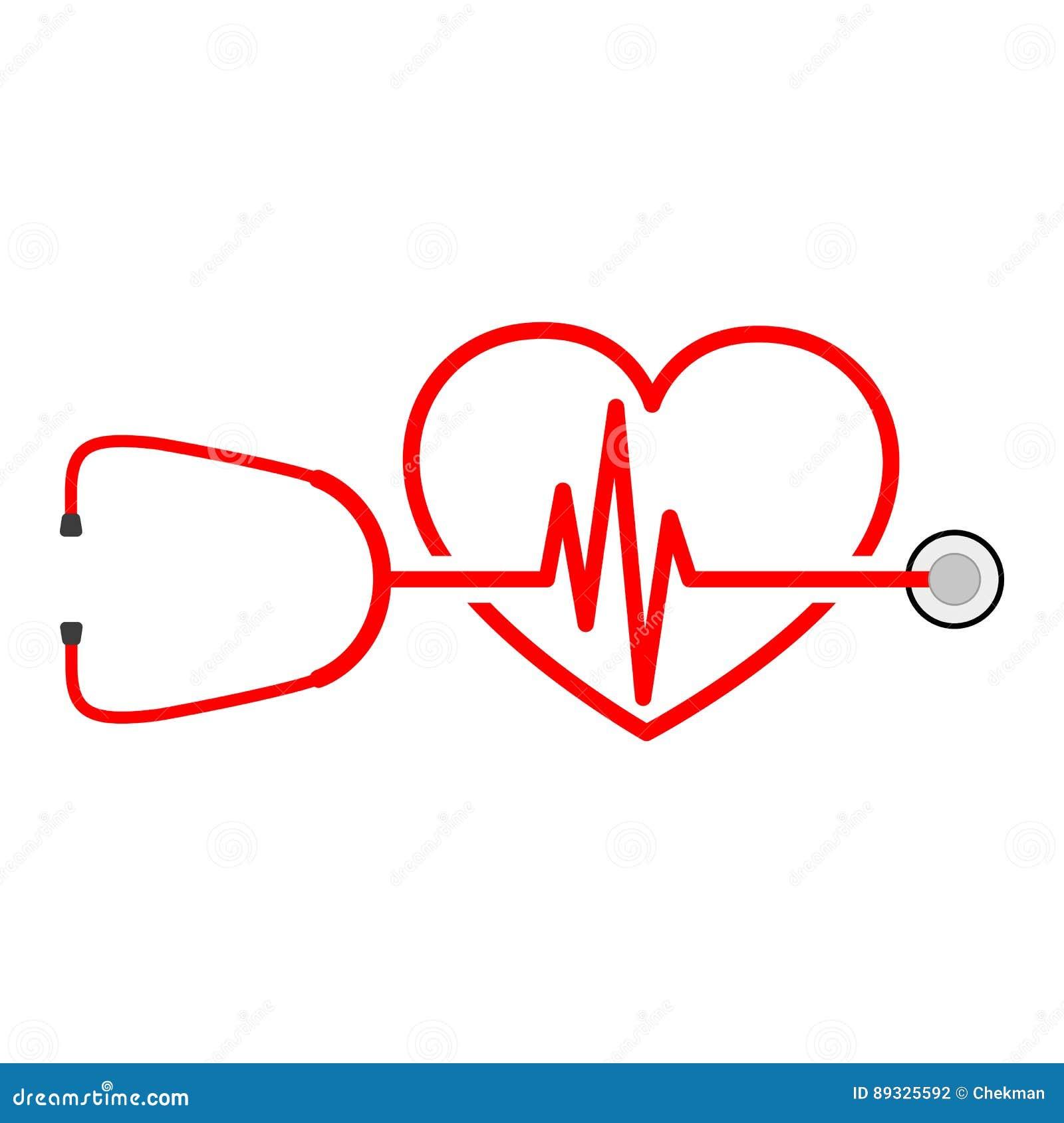 Stethoskop, Herzschlagzeichen Und Herz Auch Im Corel Abgehobenen ...