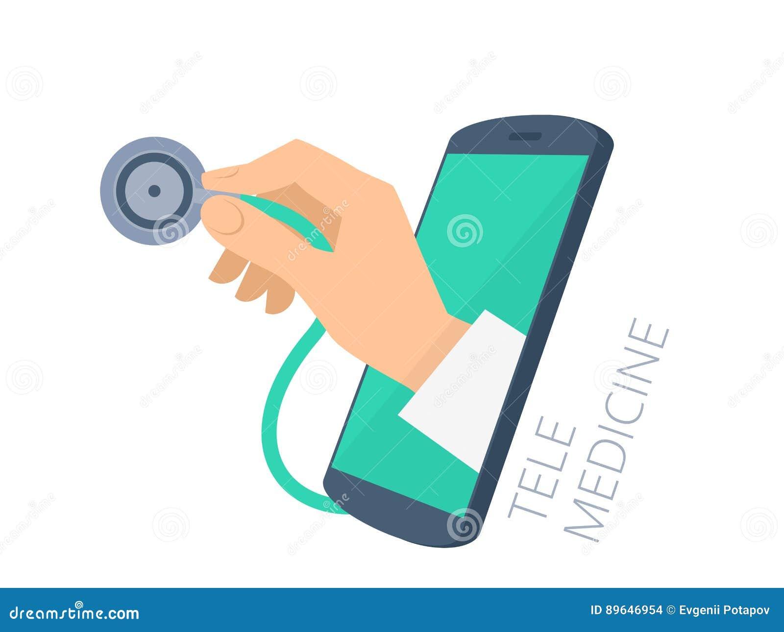 Stetoskop för hand för doktors` s hållande till och med telefonskärmkontrollen