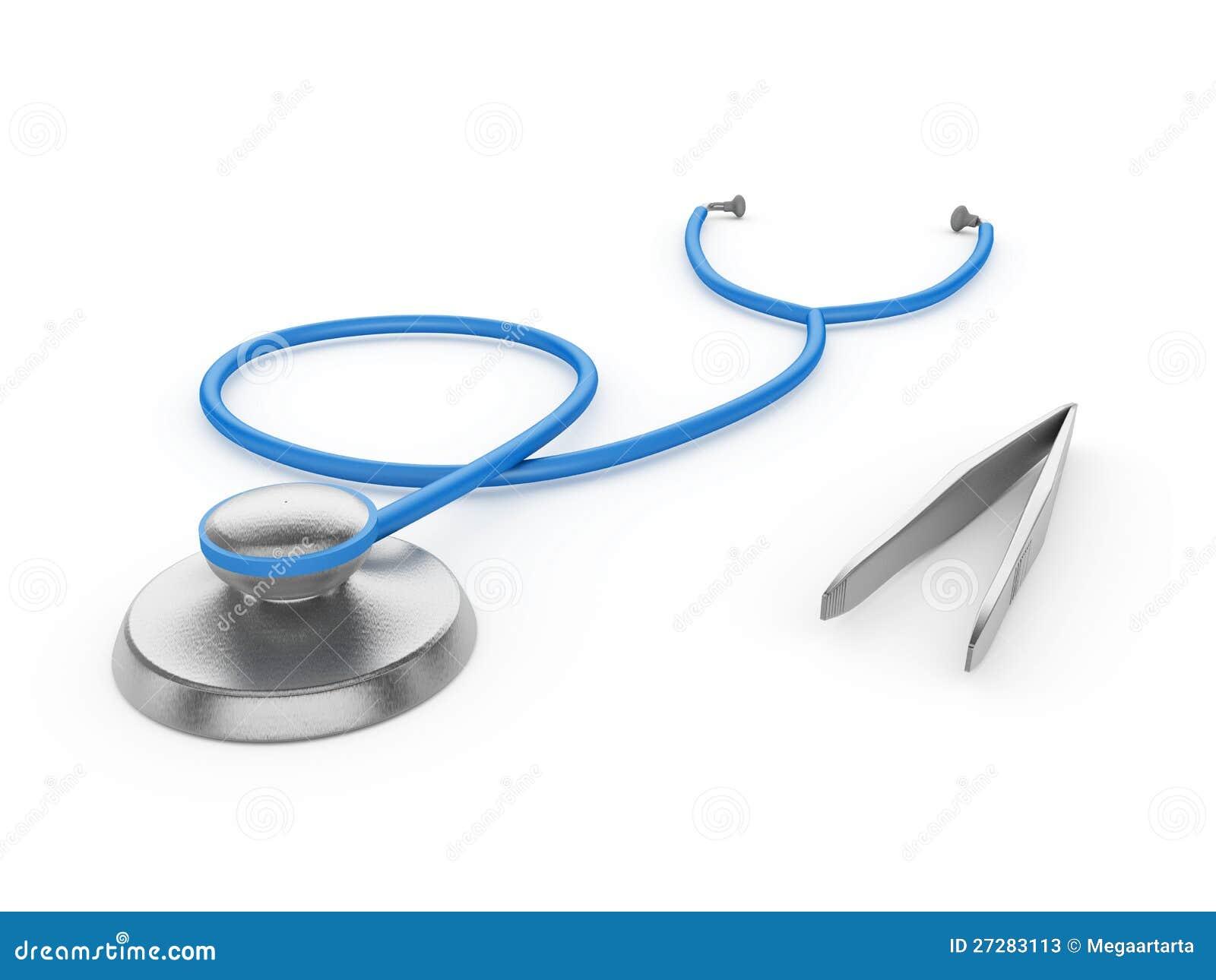 Stetoskop och kirurgisk tång på en vit bakgrund