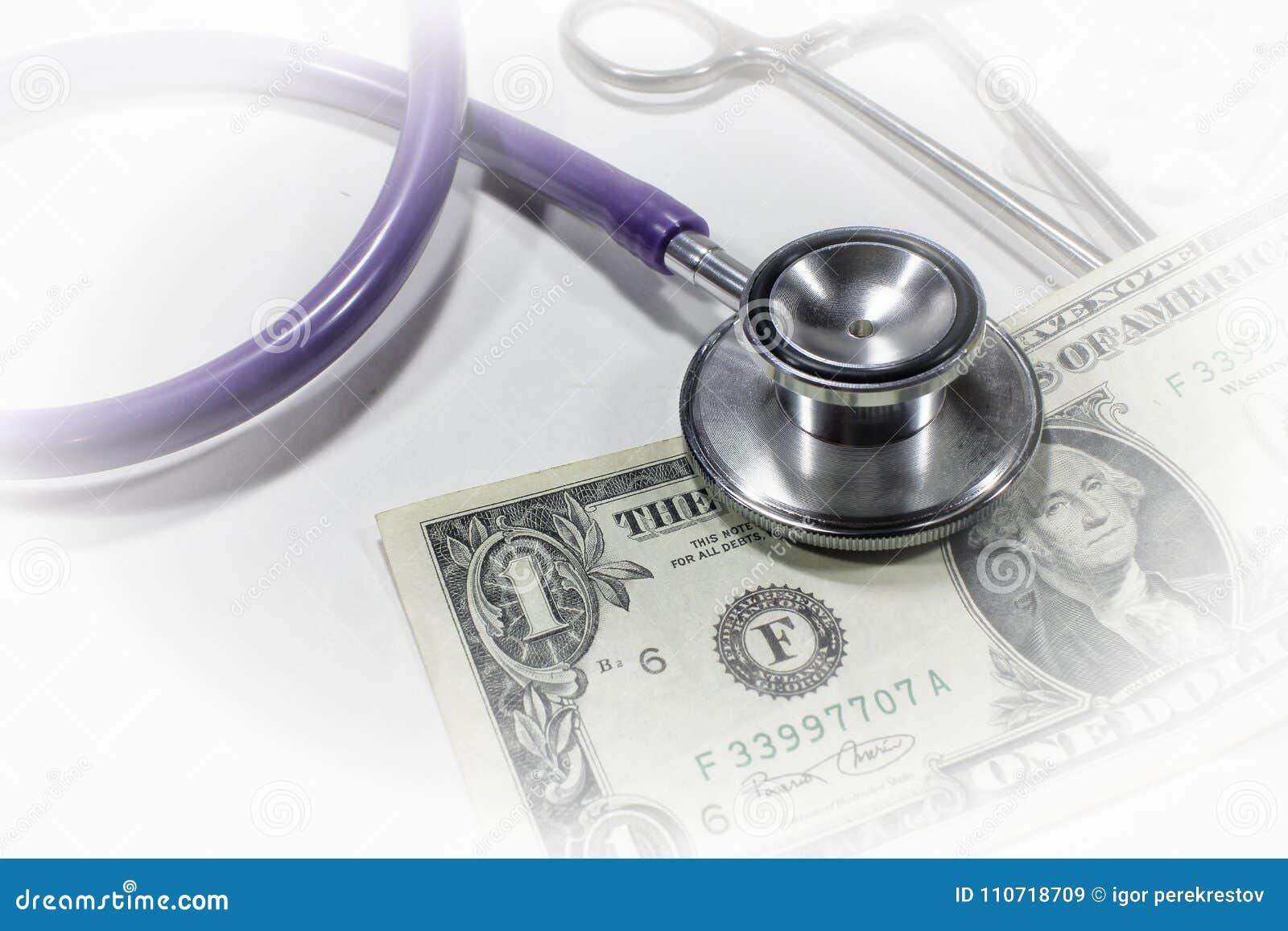 Stetoskopu dolar, wydatek na zdrowie lub pieniężny assistanc,