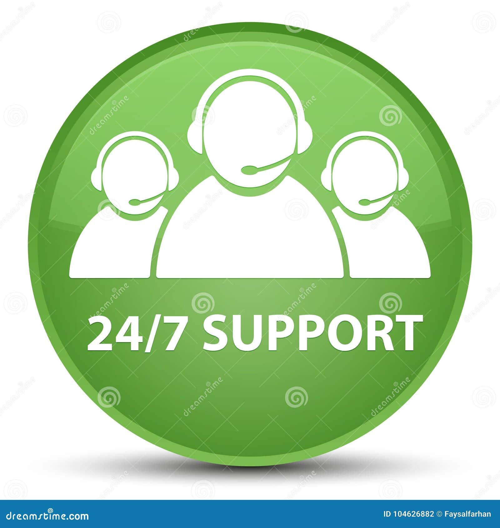 Download 24/7 Steun (het Teampictogram Van De Klantenzorg) Speciale Zachte Groene Ronde Stock Illustratie - Illustratie bestaande uit vraag, vertegenwoordiger: 104626882