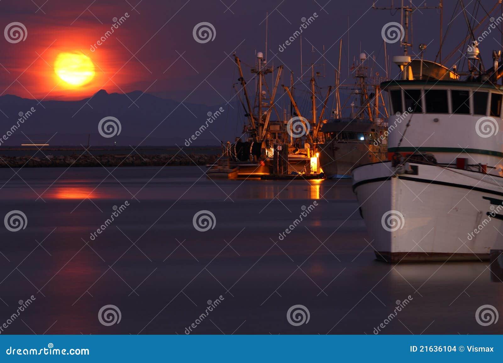 Steveston Harbor Moonset