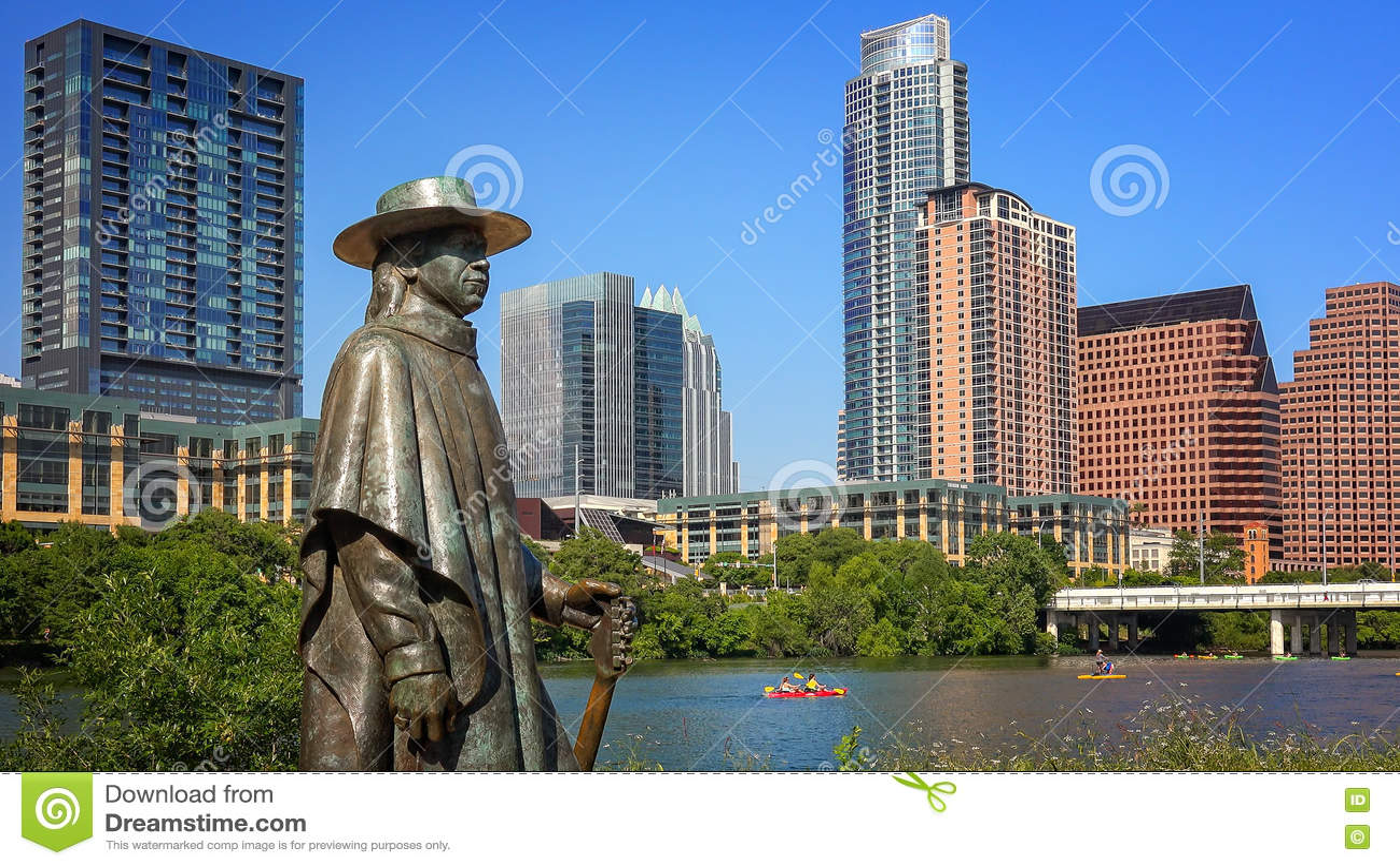Stevie Ray Vaughan Statue devant Austin du centre, le Texas et