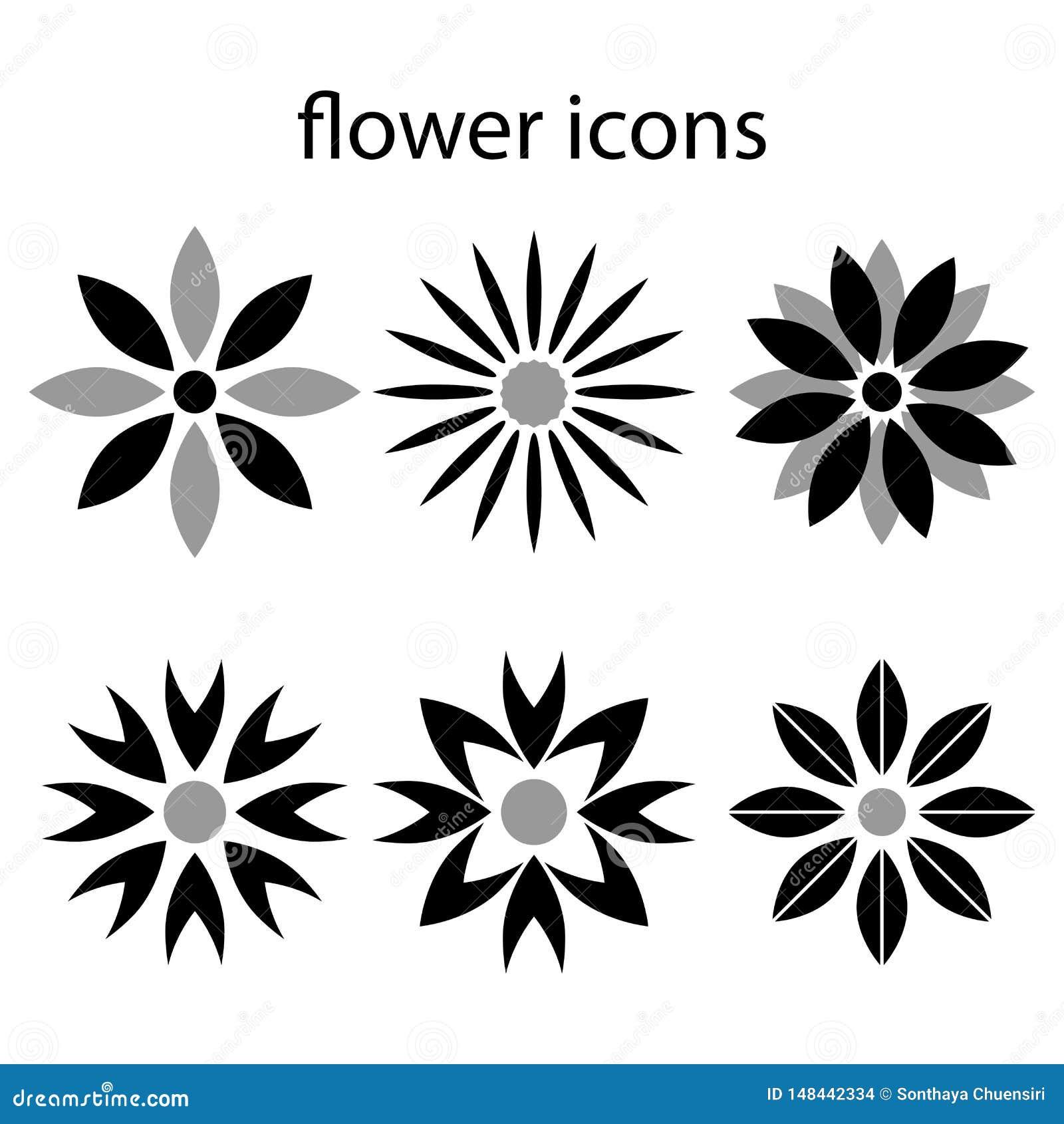 Stevige die pictogrammenbloemen op witte vectorillustraties worden geplaatst als achtergrond
