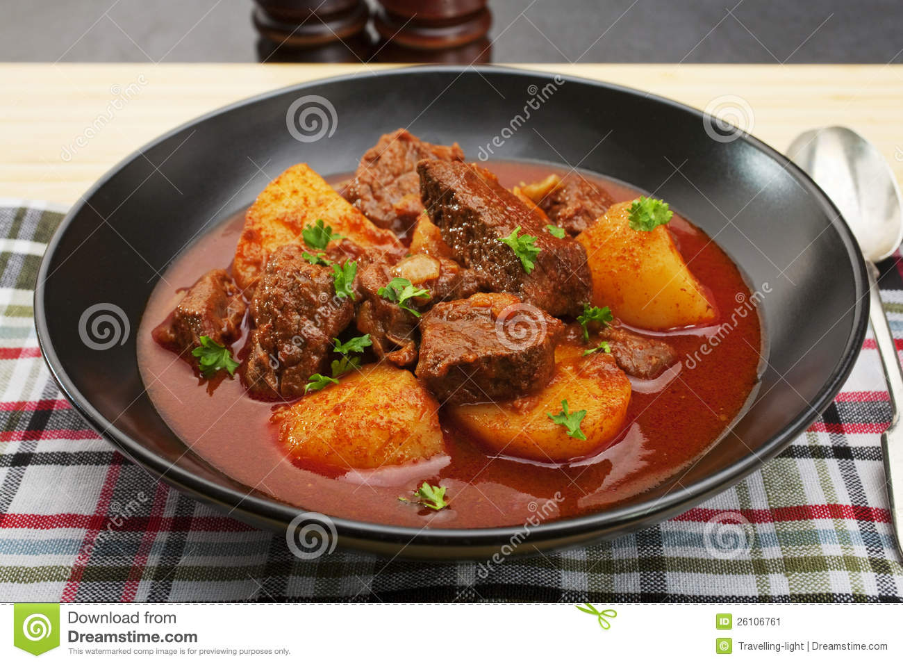 Hungarian beef goulash, somewhere between a soup and a stew, made with ...