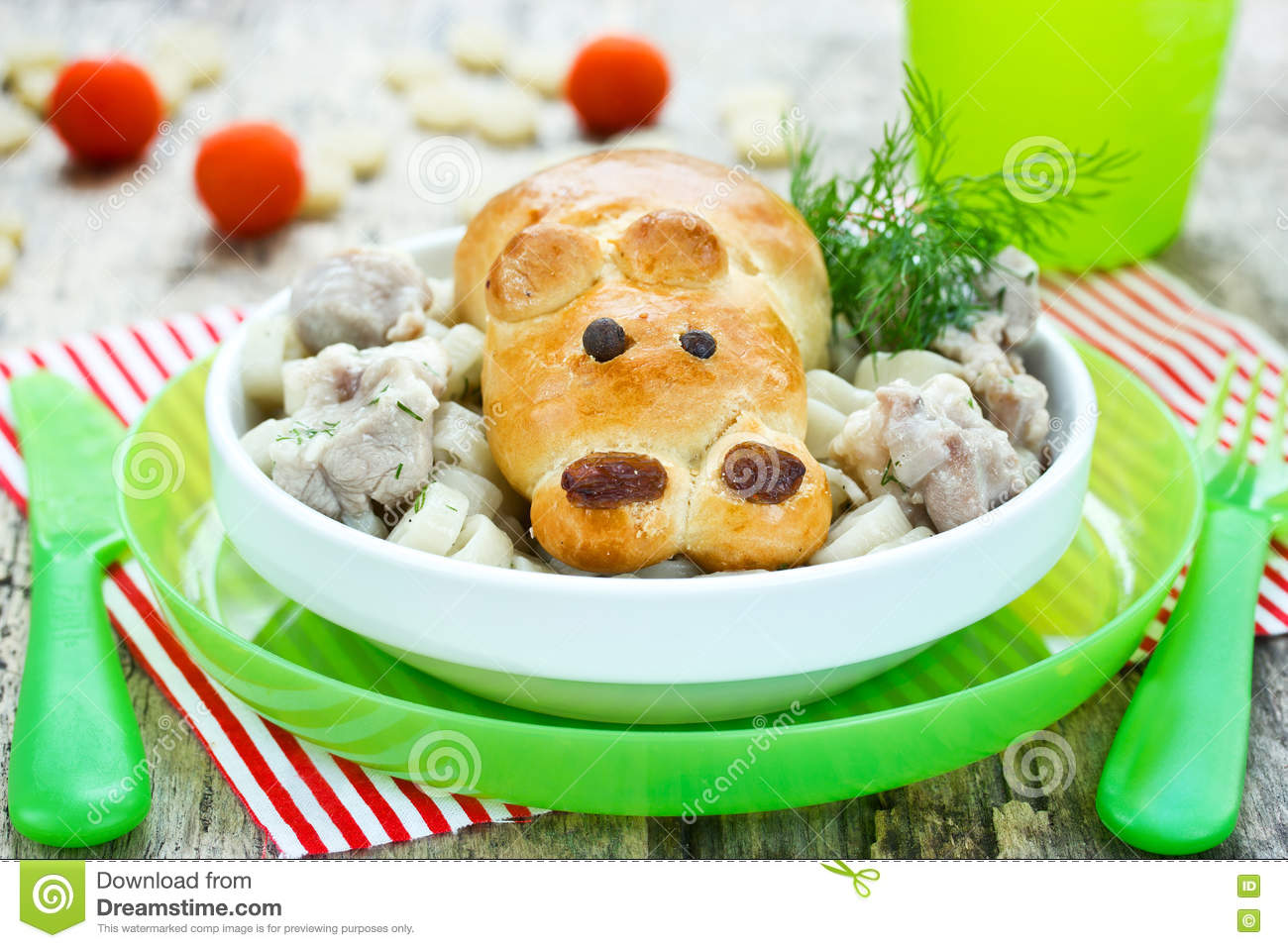 Stew meat with bun shaped funny hippo - creative idea for kids d