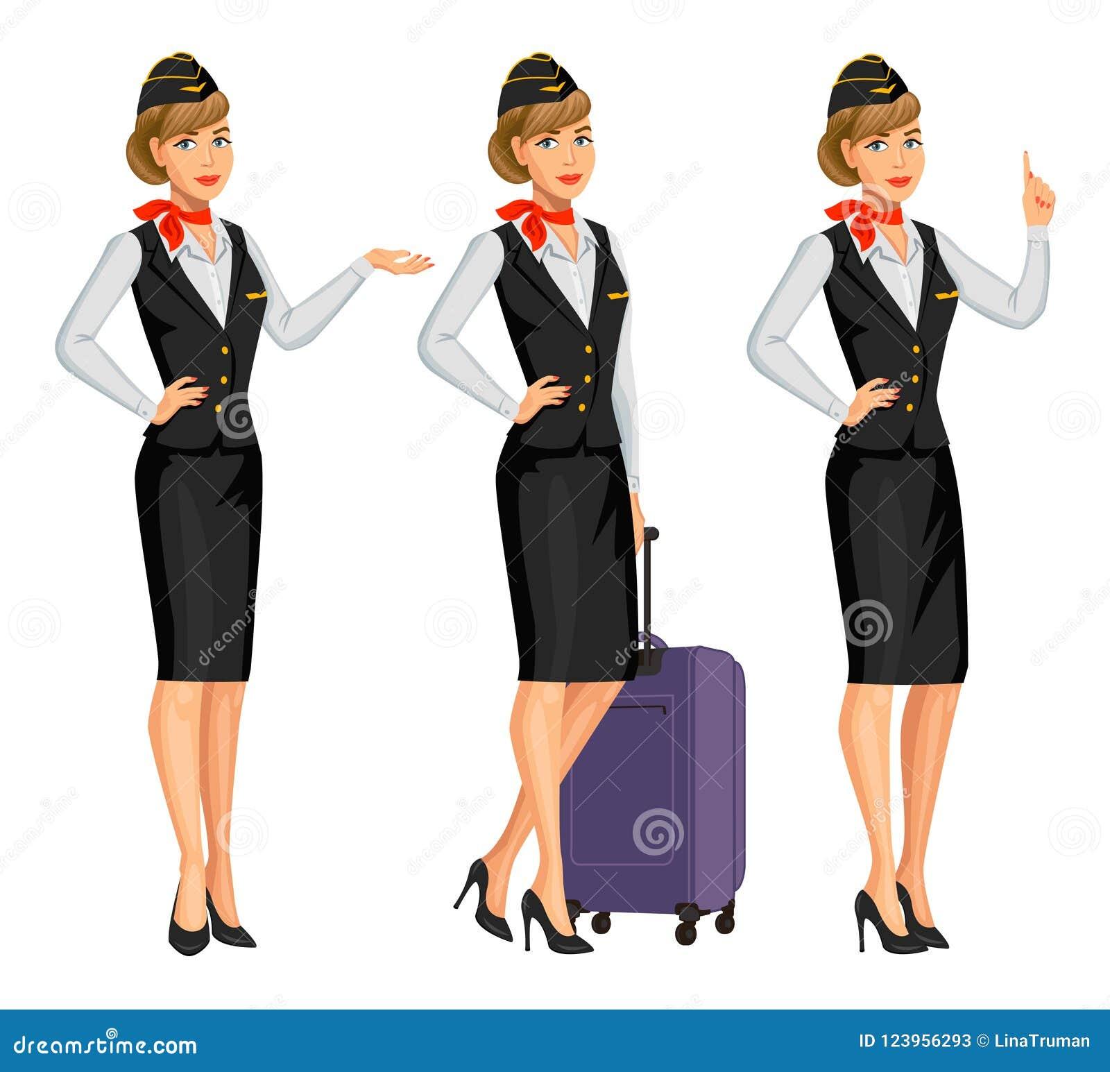 e1dbbe136d9ec Royalty-Free Vector. Stewardess in black uniform. Flying attendants