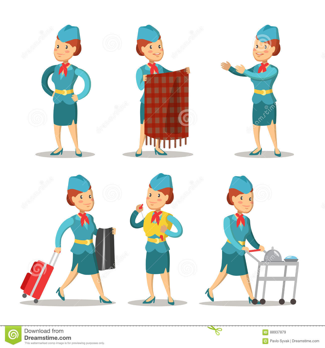Air Hostess Cartoon Stock Illustrations 308 Air Hostess Cartoon