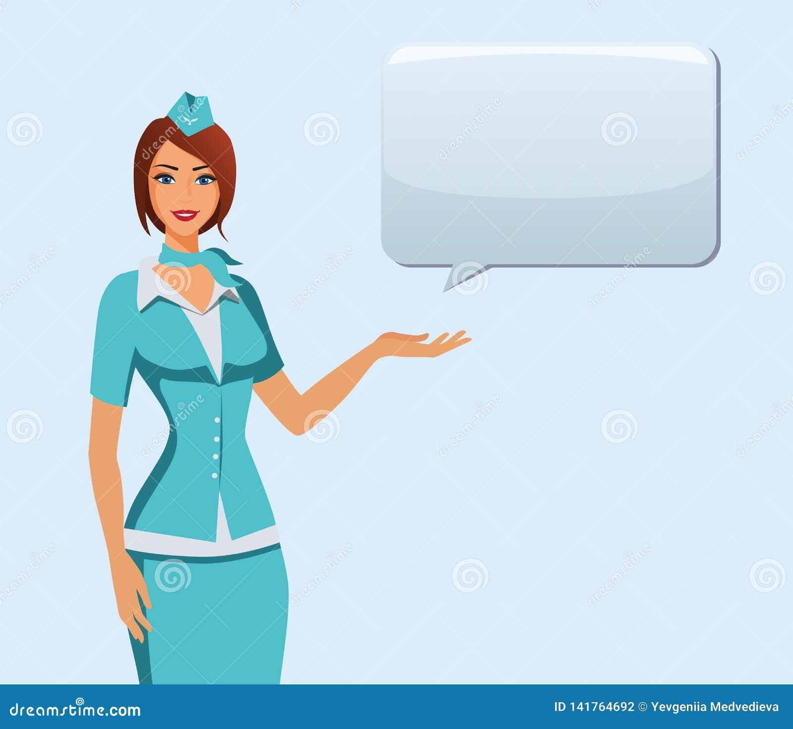 Stewardess i blå likformig Flyga deltagare, luftlyxfnask som pekar på information eller står med påsen