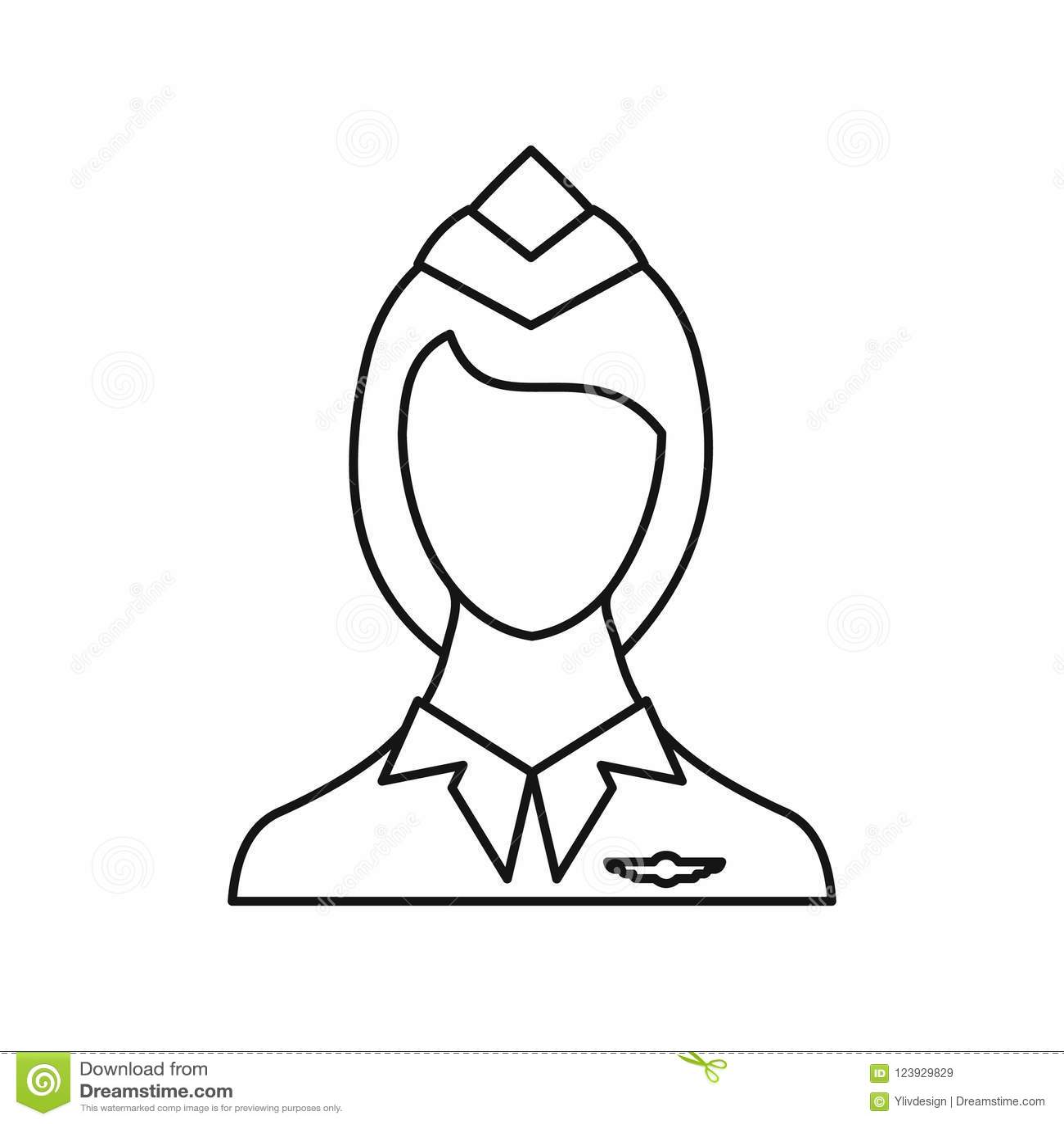 Stewardess Icon Outline Style Stock Illustration Illustration Of