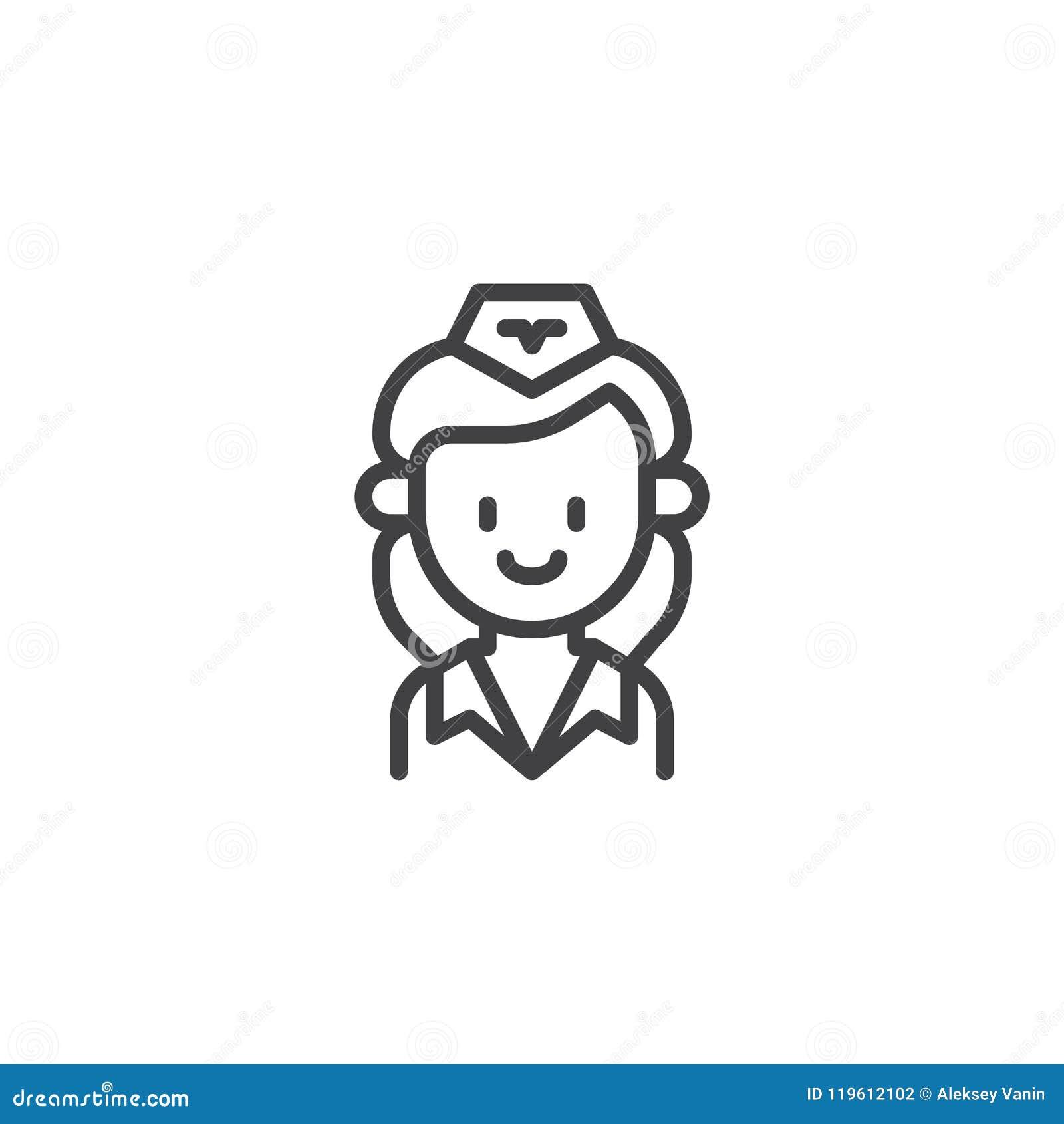 Stewardess Outline Icon Stock Vector Illustration Of Stewardess