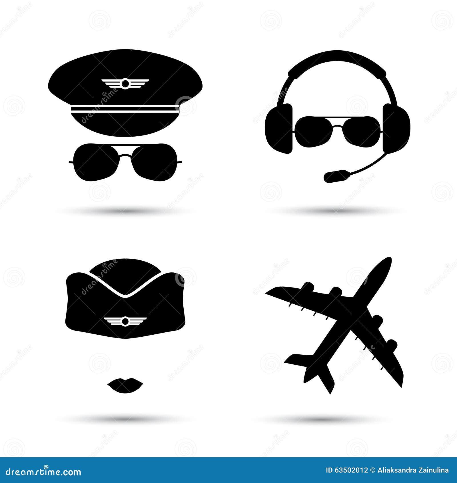 stewardess  pilot  airplane vector icons stock vector aircraft clipart images aircraft clipart silhouette
