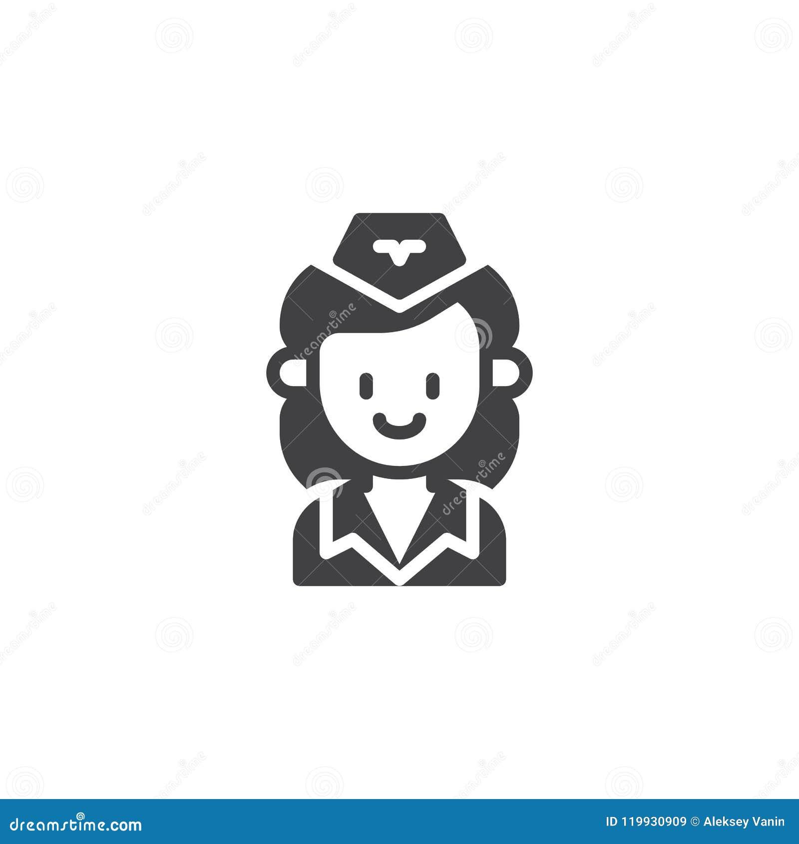 Stewardess Vector Icon Stock Vector Illustration Of Icon 119930909