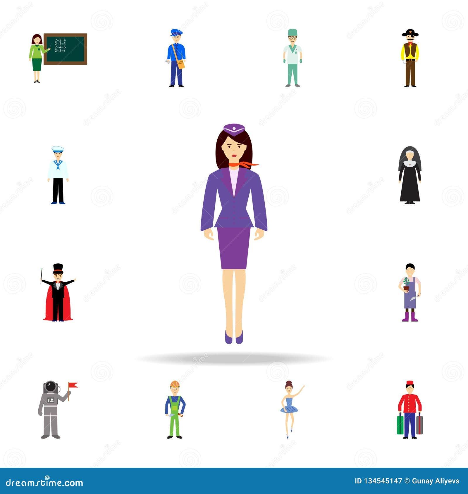 Stewardesstecknad filmsymbol Detaljerad uppsättning av färgyrkesymboler Högvärdig grafisk design En av samlingssymbolerna för web