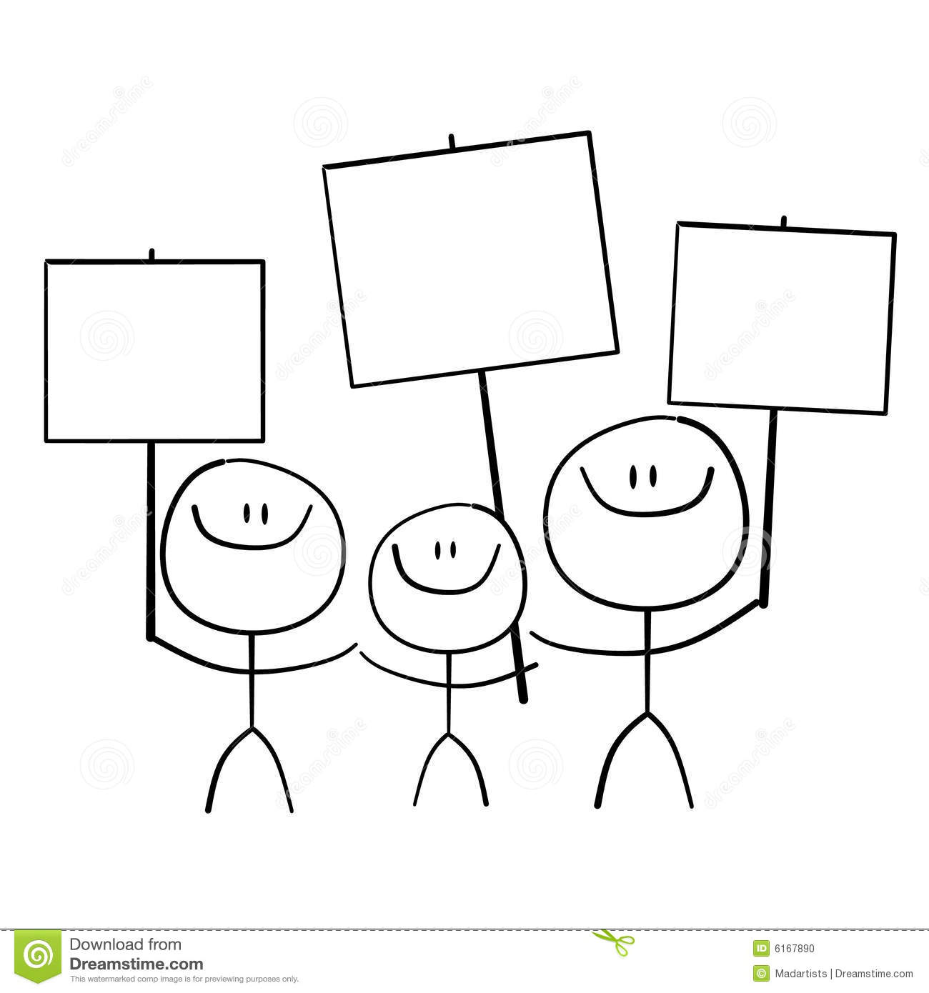 simple illustration featuring 3 stick figures holding signs and ...