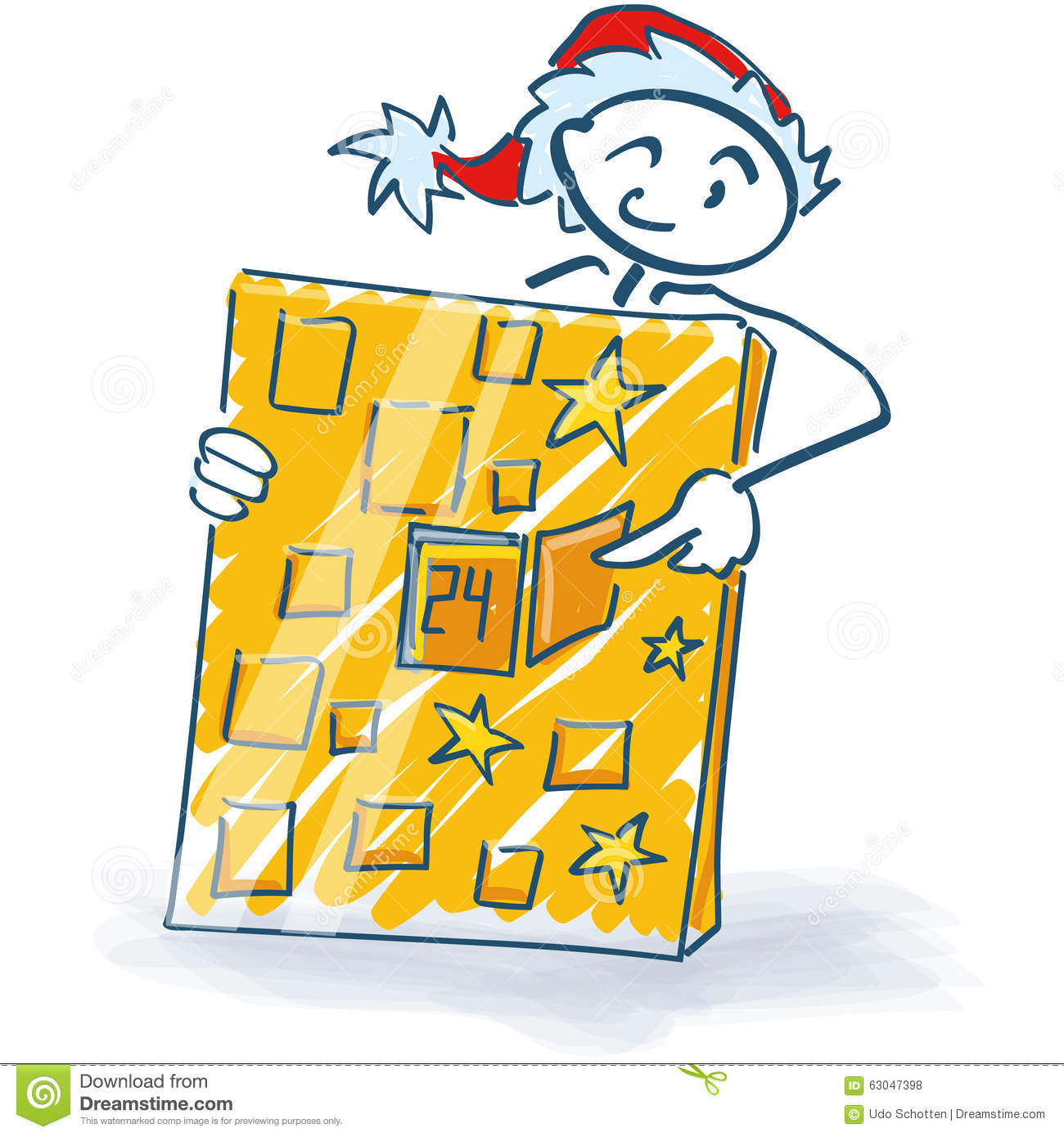 Christmas Calendar Illustration : Stick figure as santa claus and christmas calendar stock